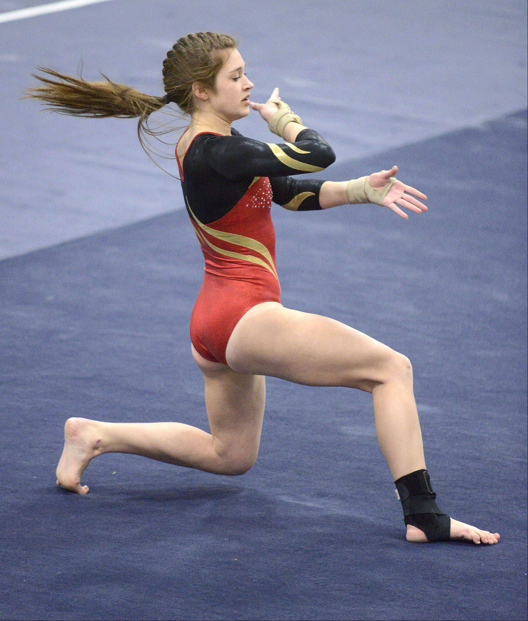 Batavia's Courtney Glassman performs her floor routine during the gymnastics meet vs. Geneva on Wednesday, January 8.