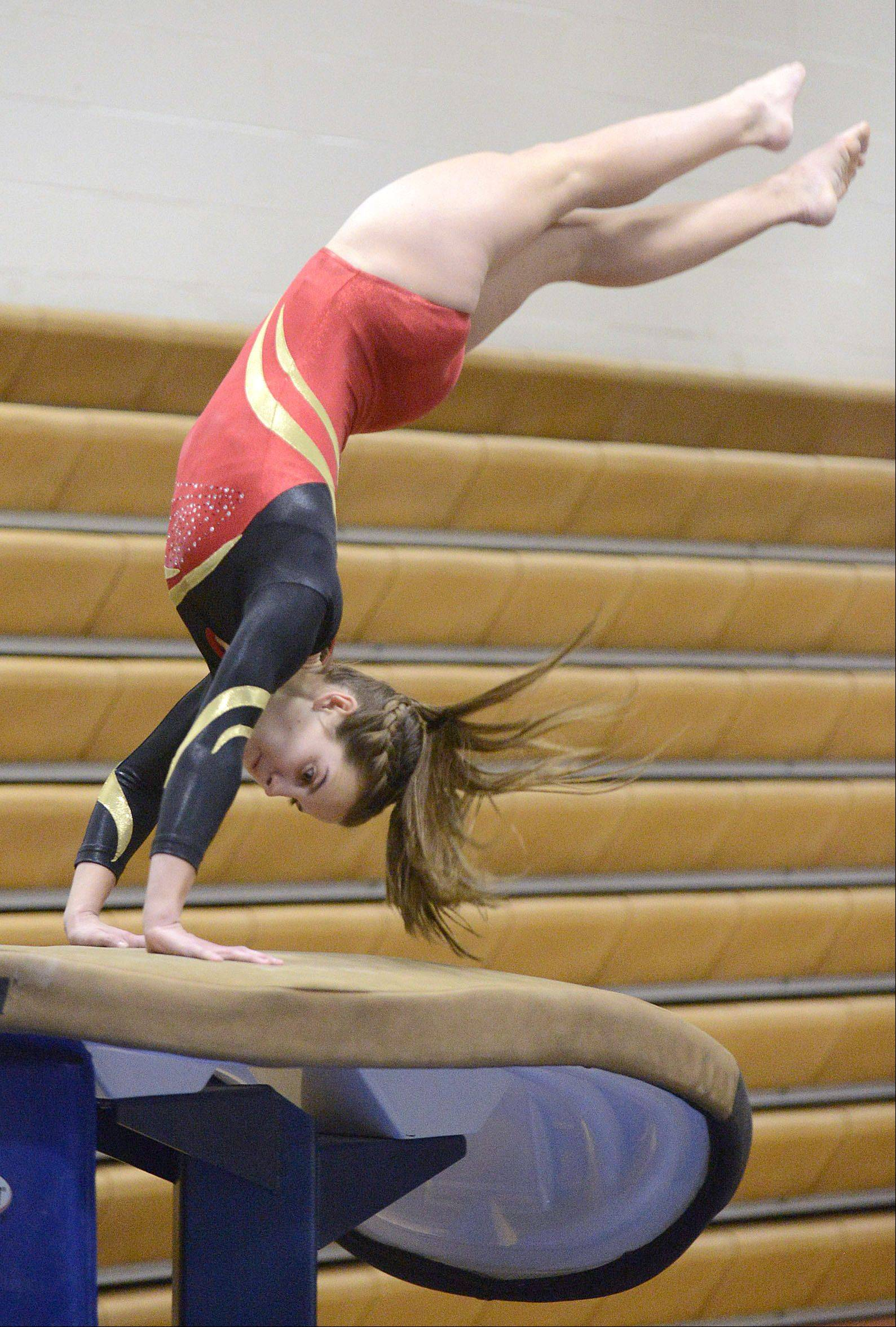Batavia's Cameron Hindel competes on the vault Wednesday.