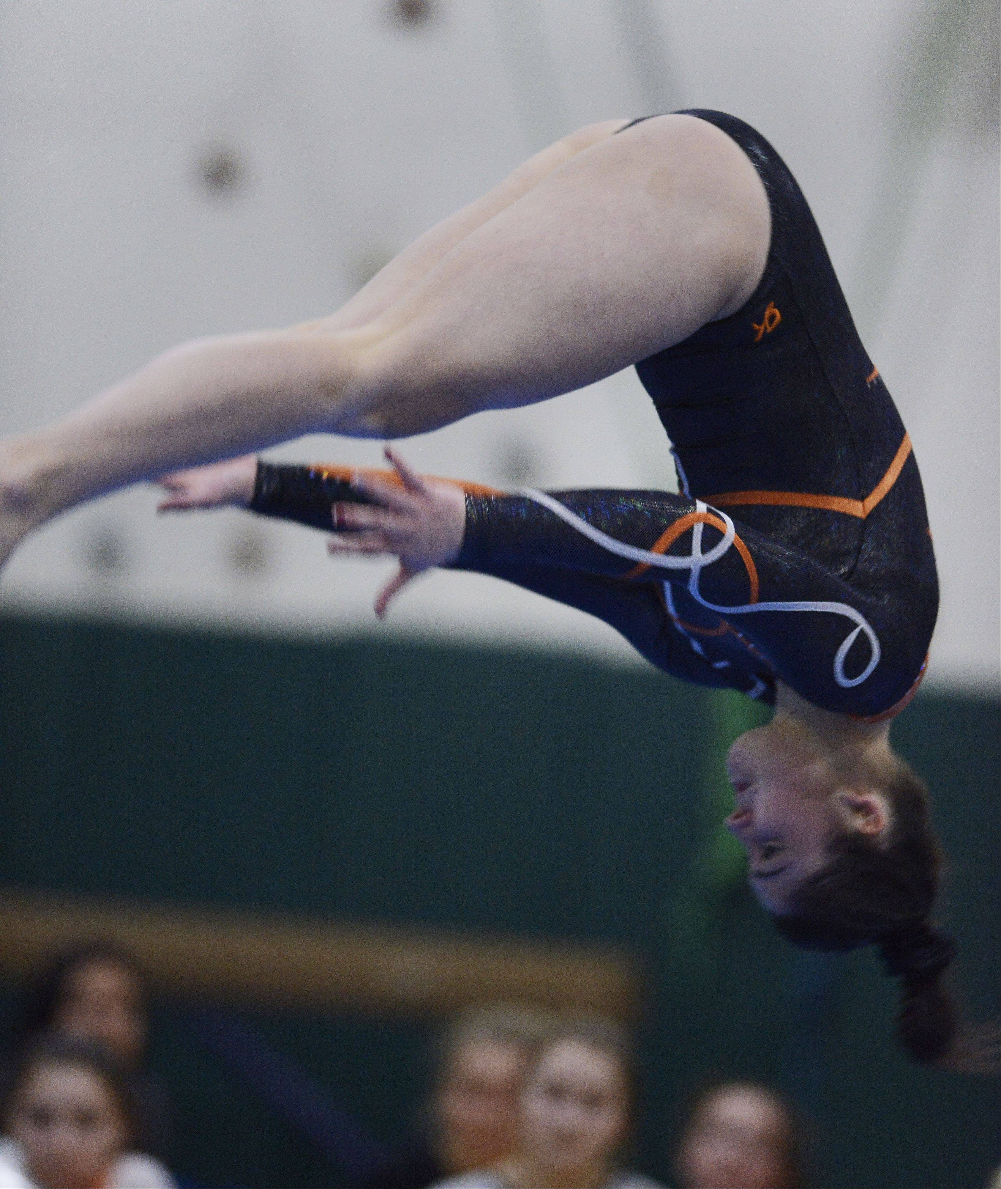 Hersey's Alysa Zurlo competes on the floor exercise during Wednesday's meet at Fremd.