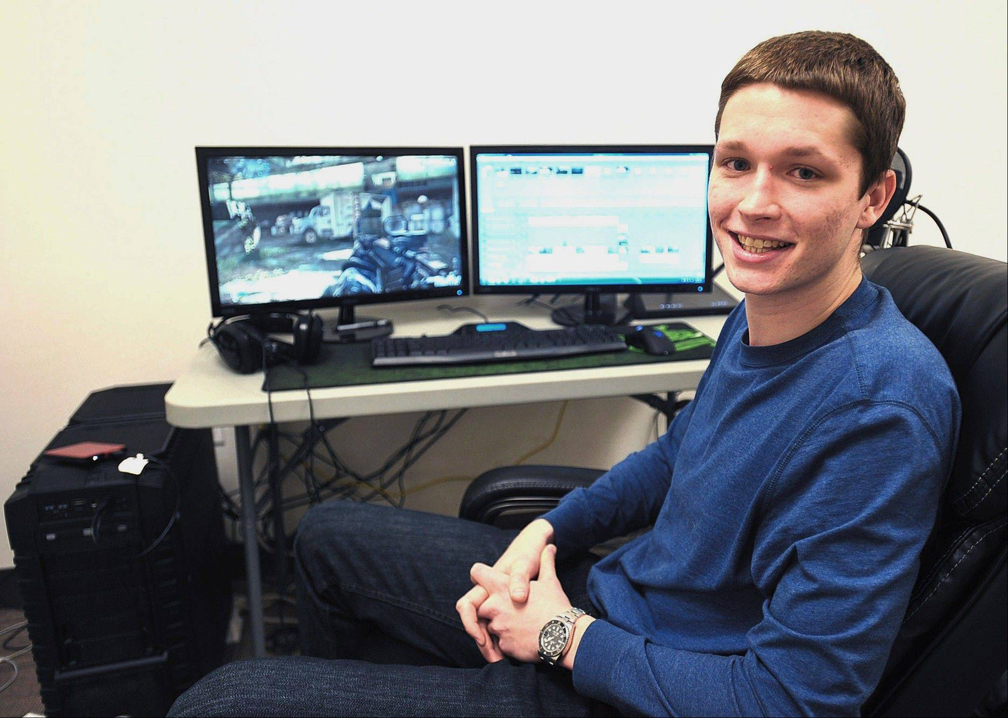 21-year-old Trevor Martin, who parlayed his expertise from playing �Call of Duty� games into a career as a video game commentator on YouTube, in Champaign.