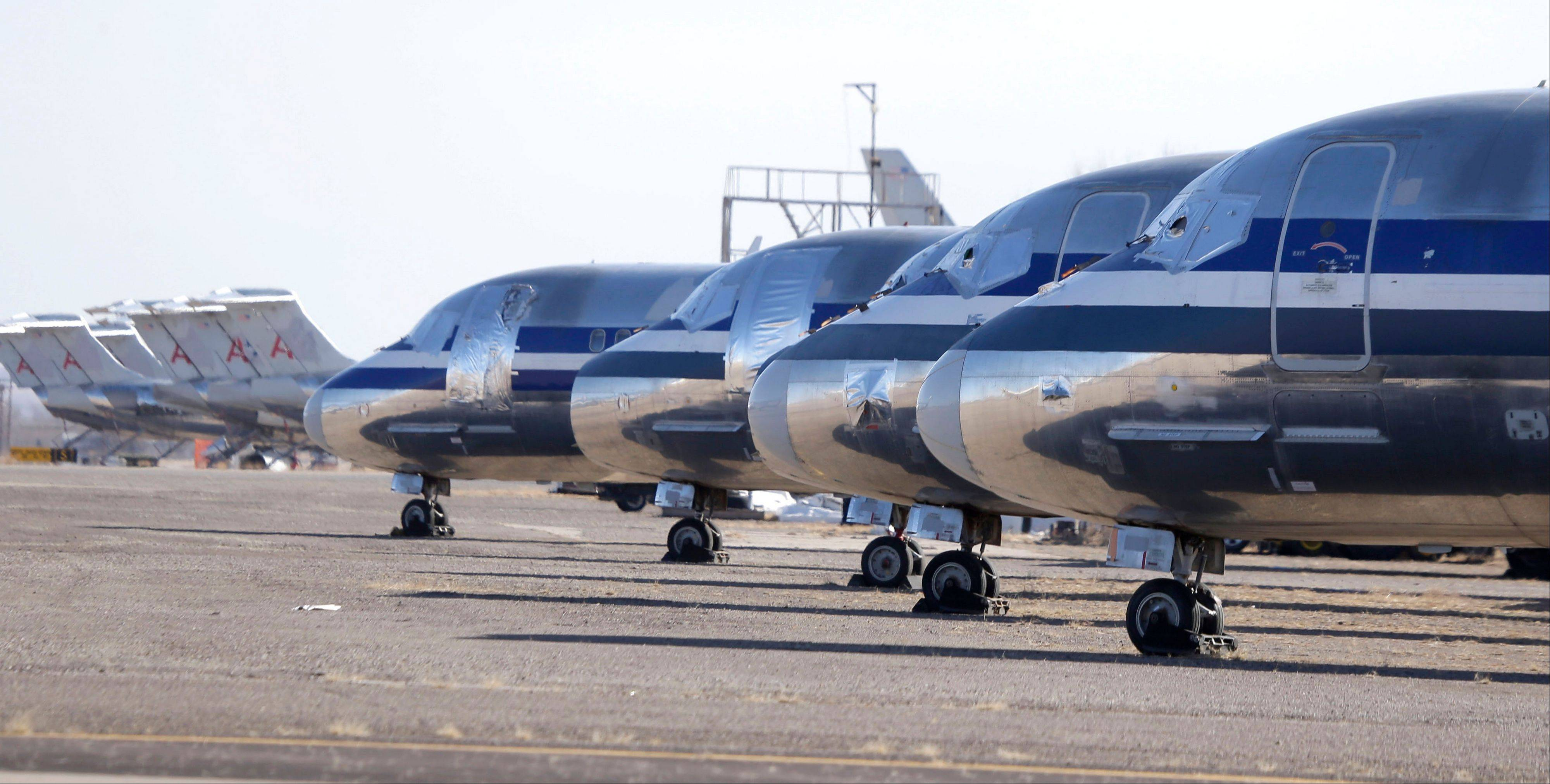 Retired airliners sit parked at the airport in Roswell, New Mexico.