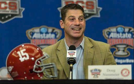 Alabama offensive coordinator/quarterbacks coach Doug Nussmeier talks with the media during a news conference before the Sugar Bowl.