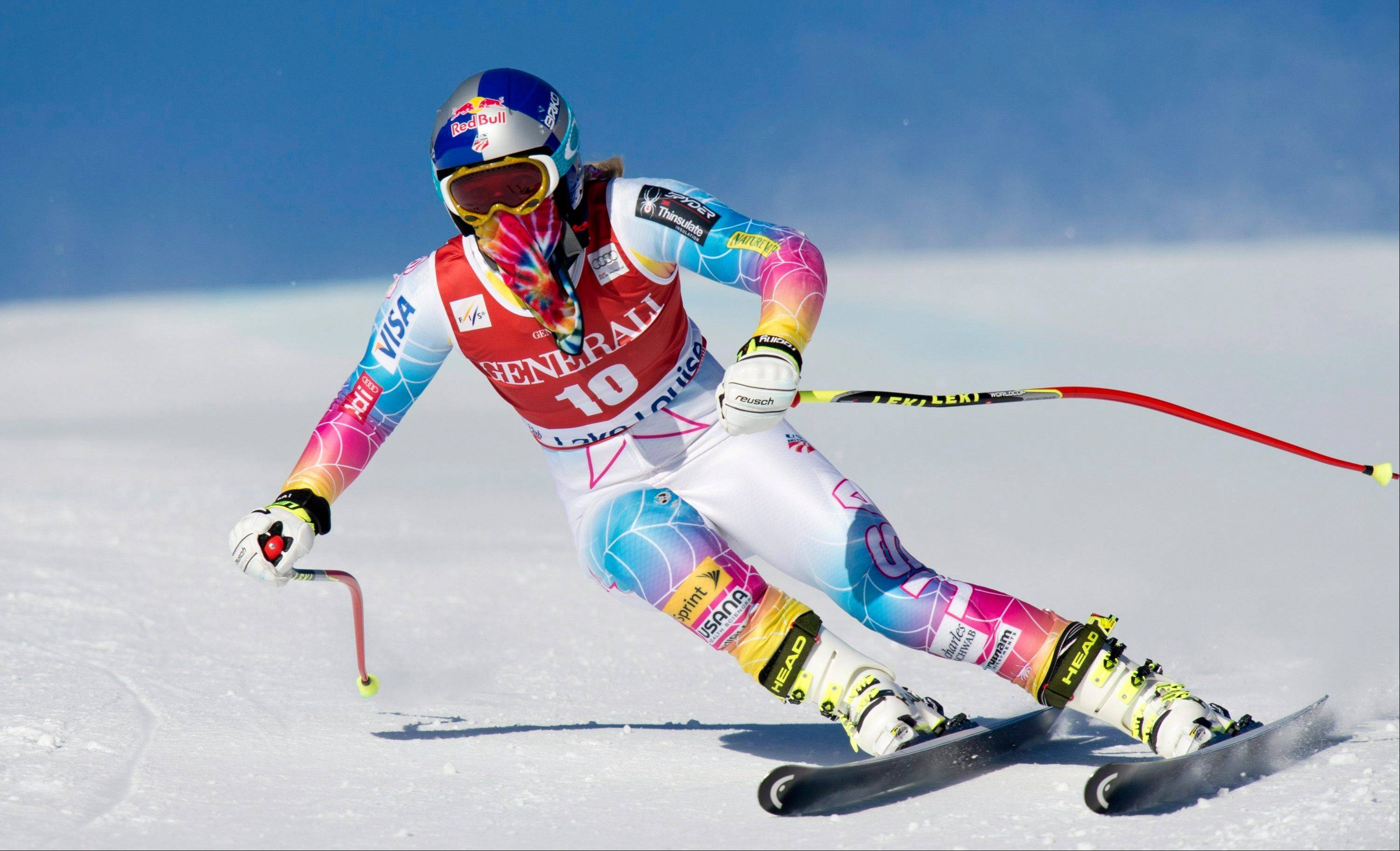 Lindsey Vonn skis during a downhill training run at Lake Louise, Alberta, Canada. Vonn is going to skip the Sochi Olympics because of a right knee injury.