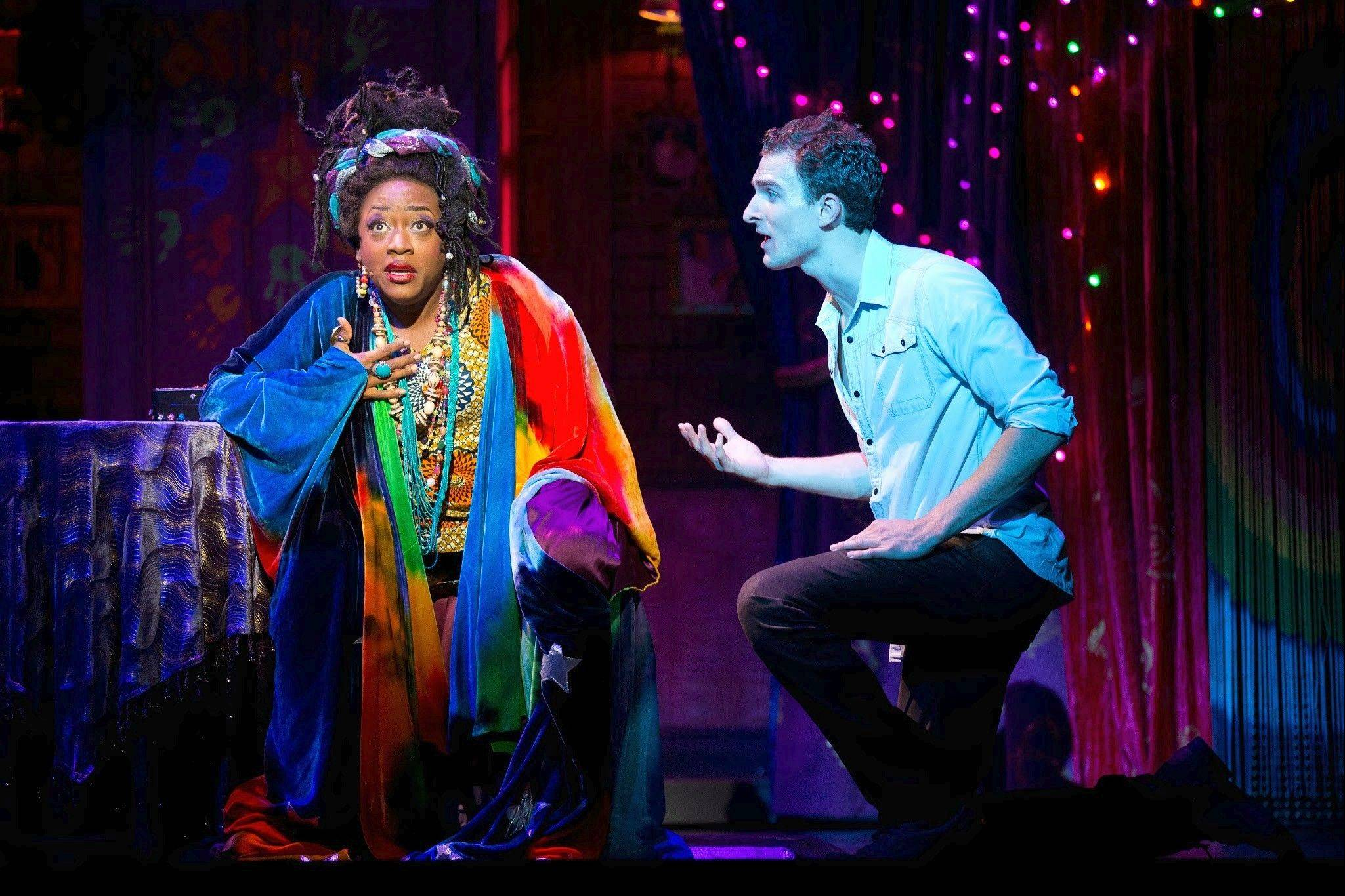 "The medium Oda Mae Brown (Carla R. Stewart) is shocked to find that she's able to communicate with the spirit of Sam Wheat (Steven Grant Douglas) in the national tour of ""Ghost The Musical."""