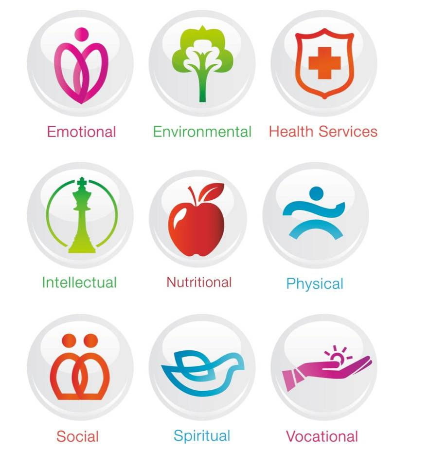 nine distinct dimensions of health and wellness