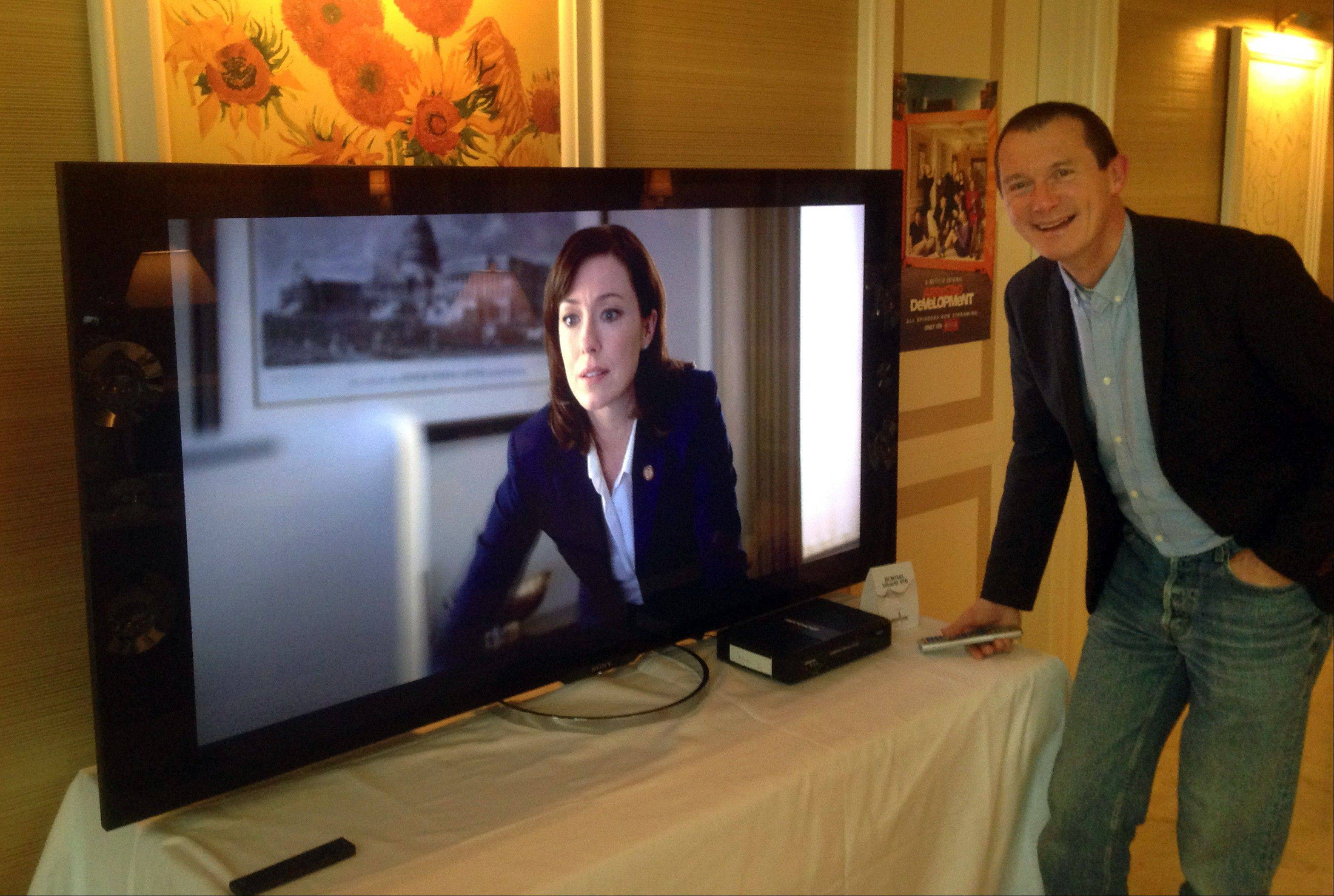 Neil Hunt, Netflix�s chief product officer, demonstrates ultra high definition streaming of a �House of Cards� trailer on a Sony TV on the sidelines of the International Consumer Electronics Show in Las Vegas.