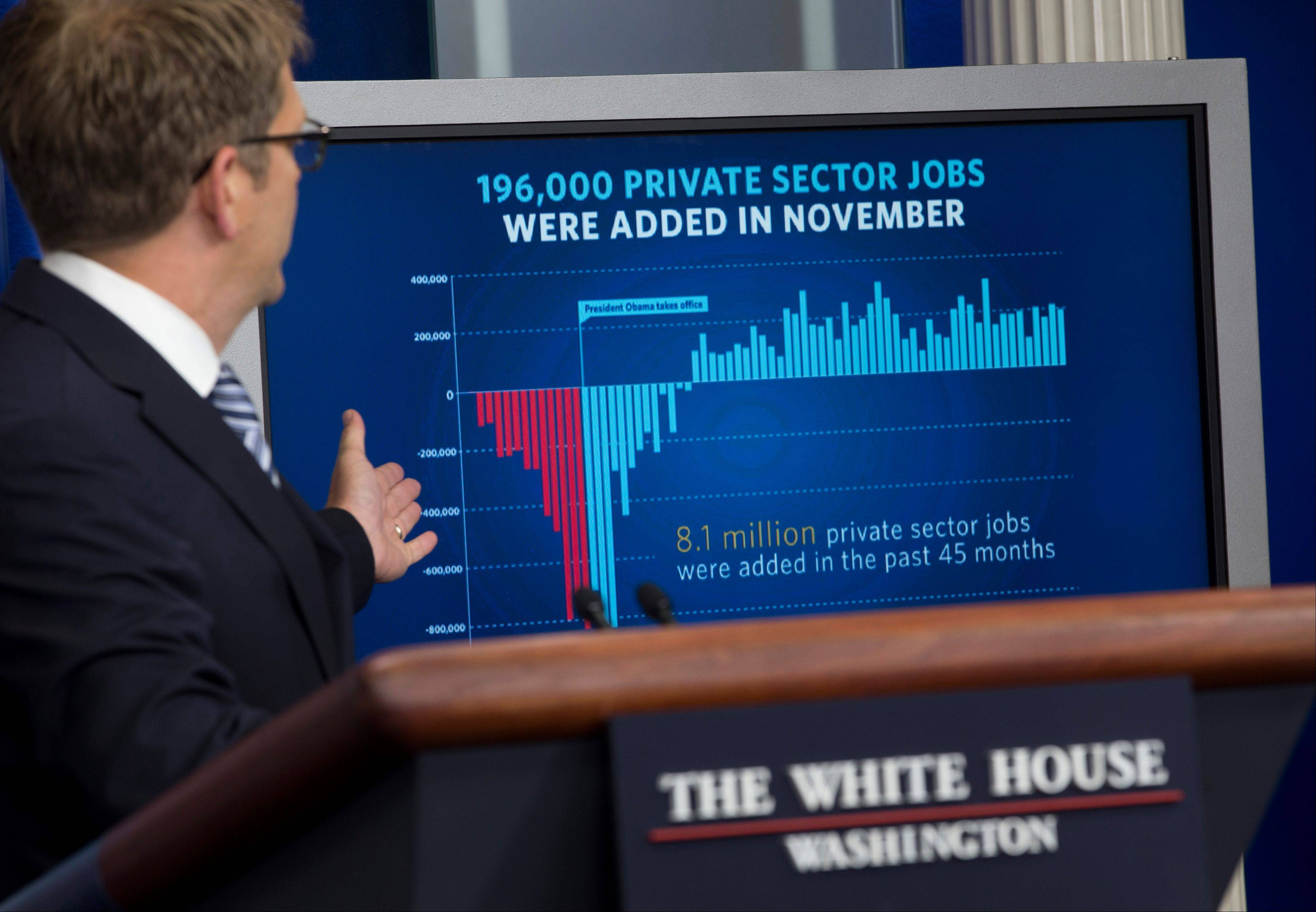 White House press secretary Jay Carney gestures to a display about job numbers during the daily news briefing at the White House in Washington.