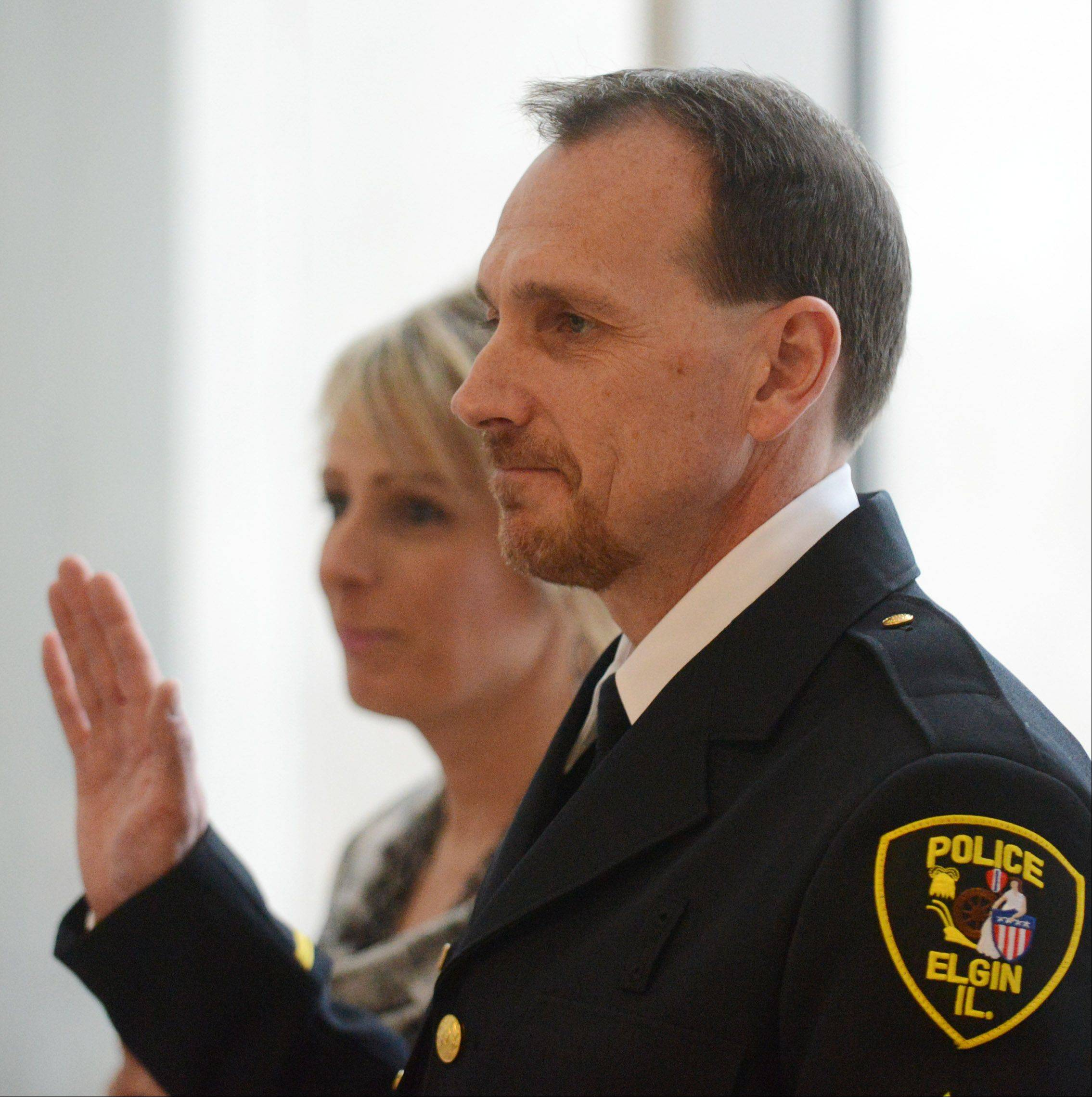 McCorkle takes the oath during his promotion ceremony Friday afternoon.