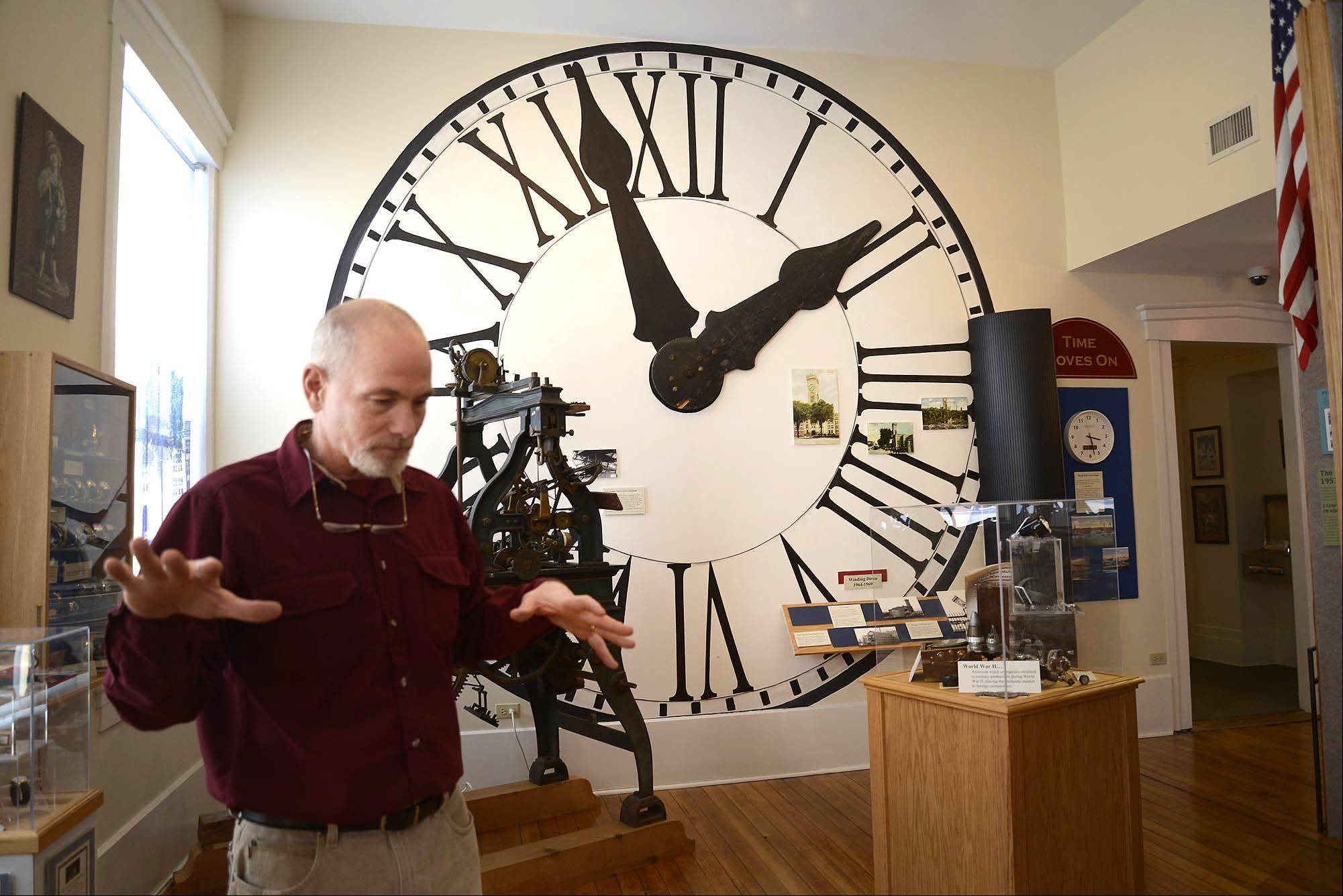 As president of the Elgin Area Historical Society, George Rowe knows a lot about his hometown, and he hears a lot about the artifacts that are housed in the Elgin History Museum. He says one of the clock hands on the wall behind him was originally on the clock tower of the Elgin Watch Company, and was a landmark for decades. The company shut down after more than 100 years and the tower was torn down. George says before he became professionally involved in Elgin history, he remembers seeing the hands mounted on a local garage as decoration.