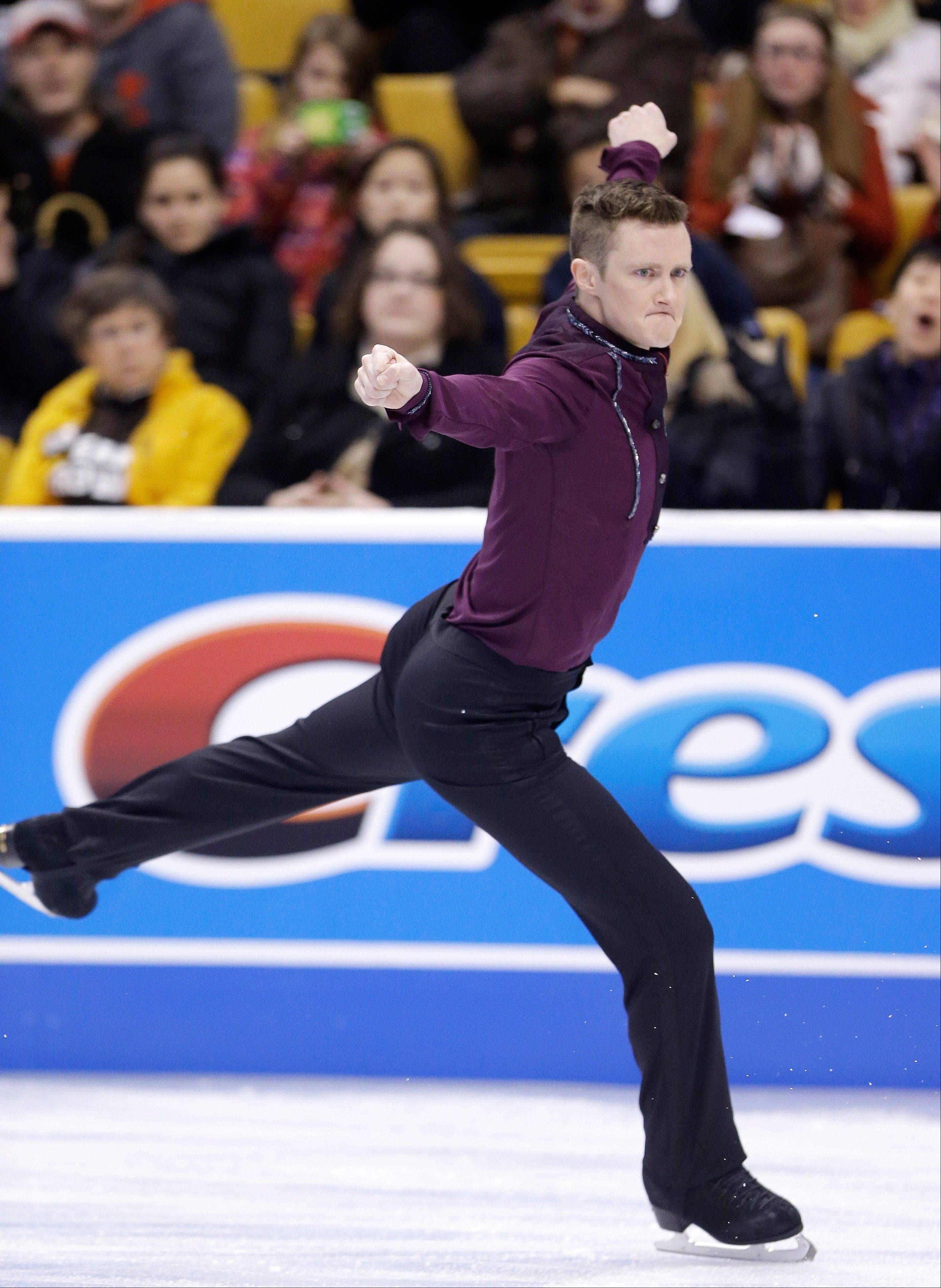 Jeremy Abbott skates during the men's short program Friday at the U.S. Figure Skating Championships in Boston.
