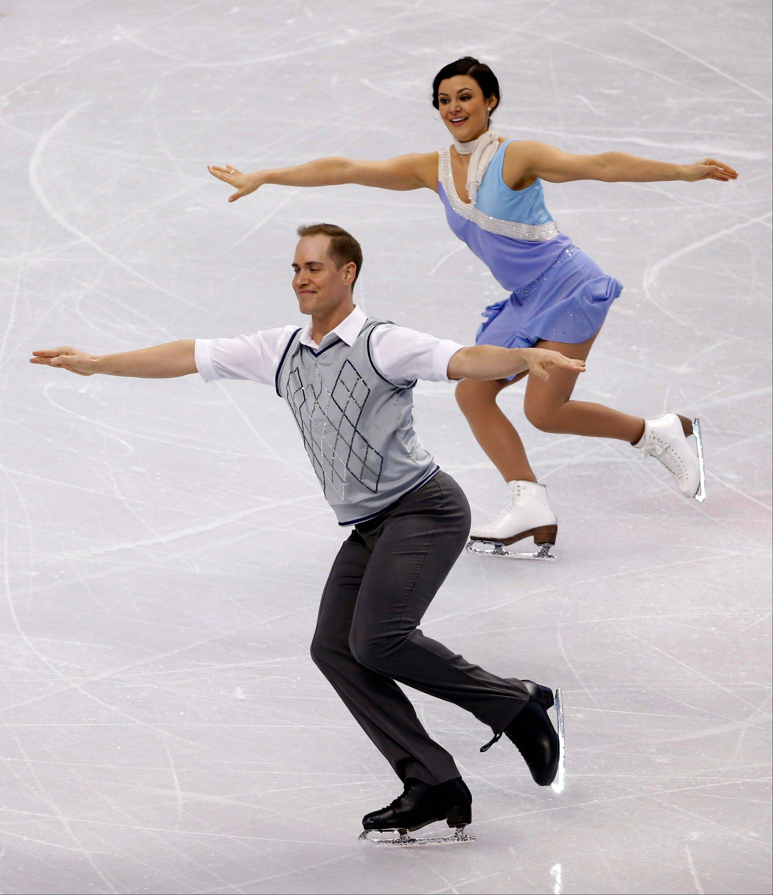 Kristen Nardozzi of Naperville and her partner, Nick Traxler, skate Friday at the U.S. Figure Skating Championships in Boston. They were in 14th place after the short program.
