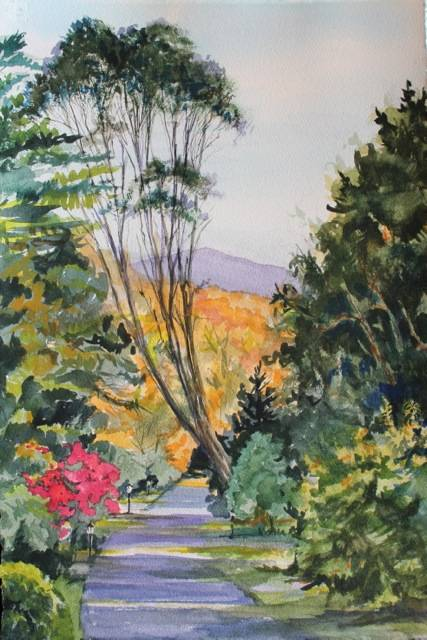 "A watercolor by Laurel Fredericks (Lake Villa) called ""Path to Dunloe Castle, Ireland,"" part of the CLC Members Exhibit."
