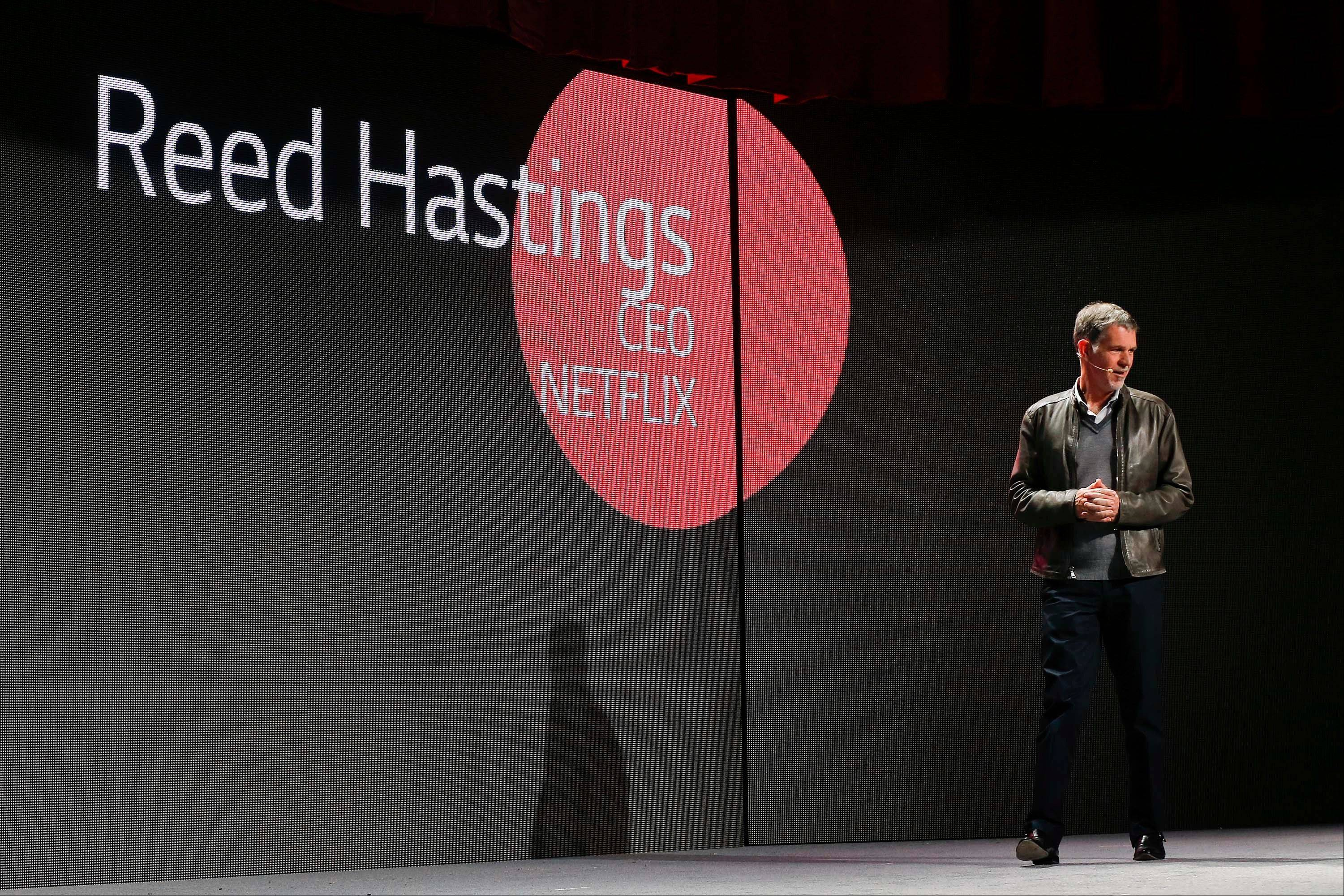 Netflix CEO Reed Hastings talks about his company�s collaboration with LG televisions during the 2014 Consumer Electronics Show in Las Vegas. LG television owners can access Netflix movies directly through a Netflix app on their screen.