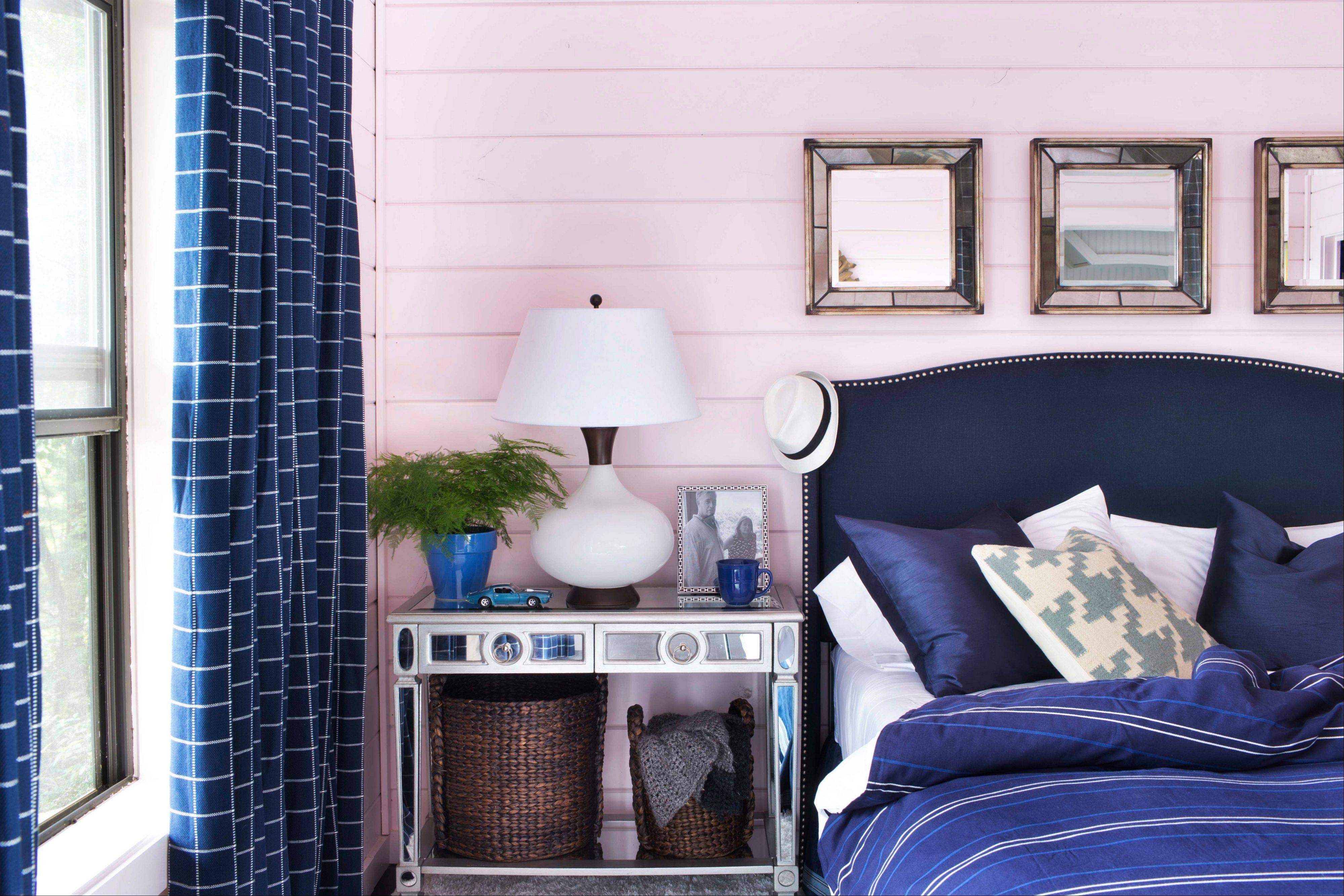 A guest bedroom by designer Brian Patrick Flynn uses a muted shade of blush on the walls and ceiling. Flynn suggests blush tones will become popular in 2014, but to add a fresh touch, they'll be paired with masculine tones such as navy blue.
