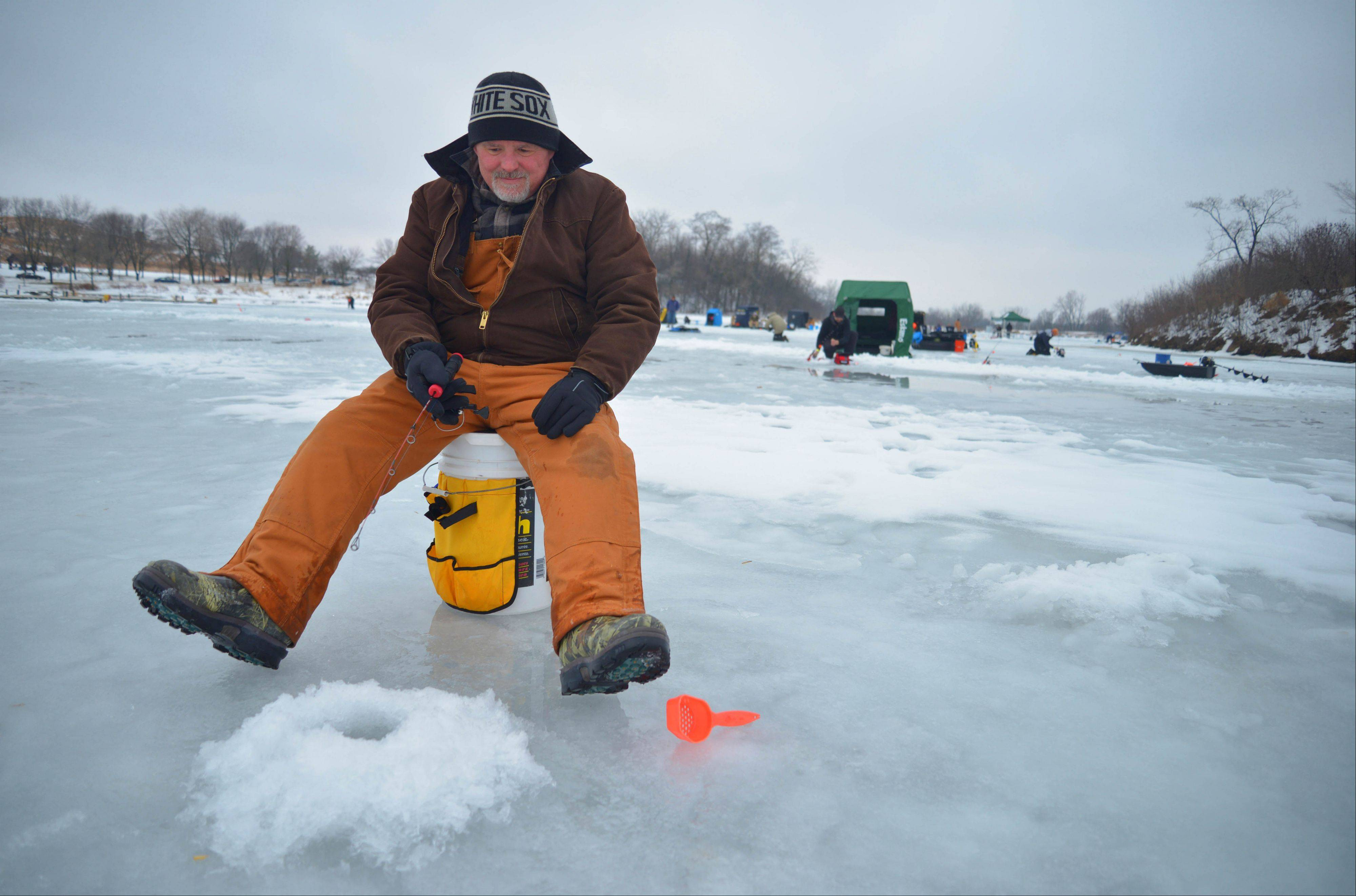 Bob Pieczynski of Bolingbrook was one of more than 100 fisherman to take part in the Hard Water Classic ice-fishing tournament Saturday at Blackwell Forest Preserve.