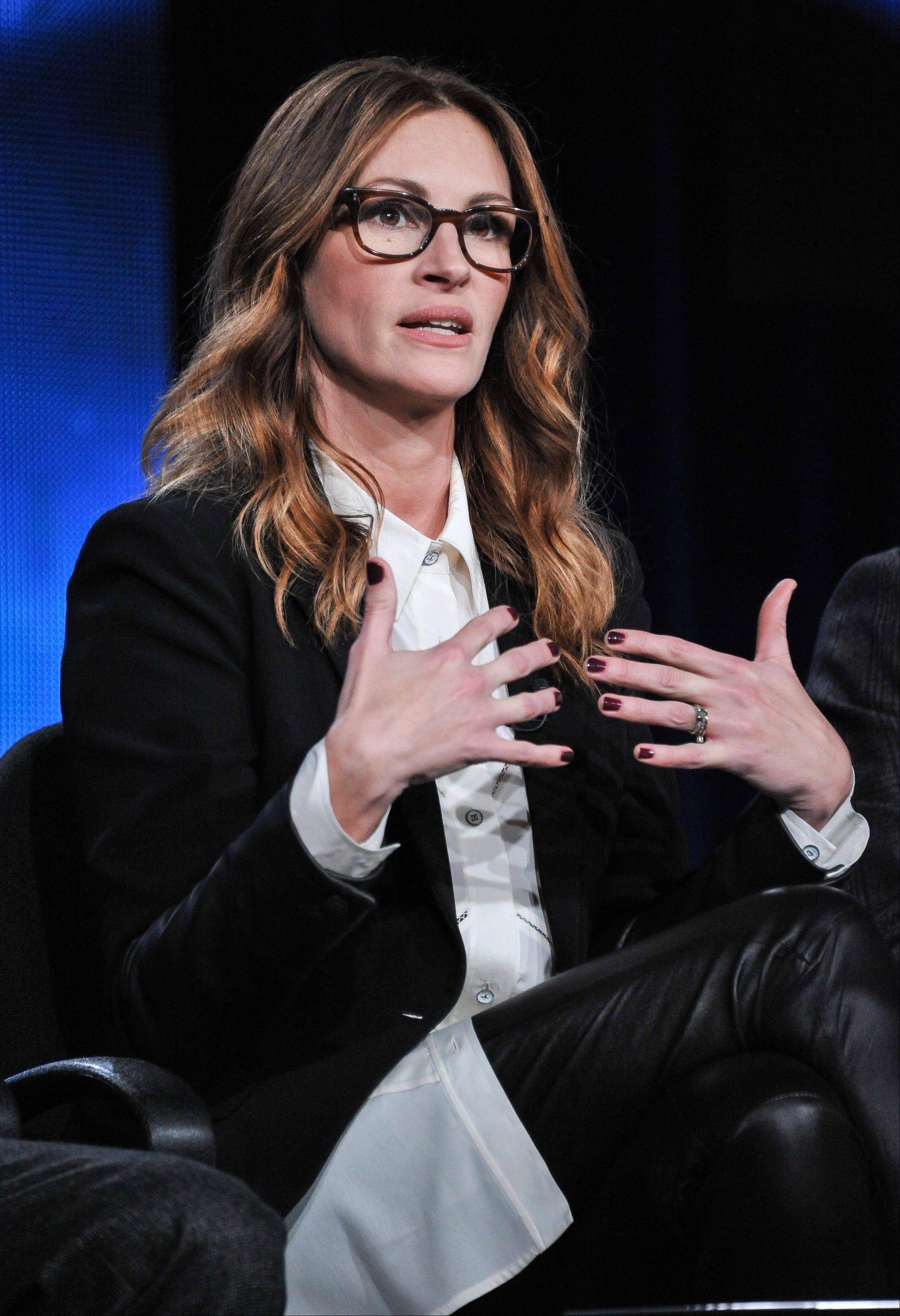 "Julia Roberts speaks on stage during the ""Normal Heart"" panel discussion at the HBO portion of the 2014 Winter Television Critics Association tour at the Langham Hotel Thursday."