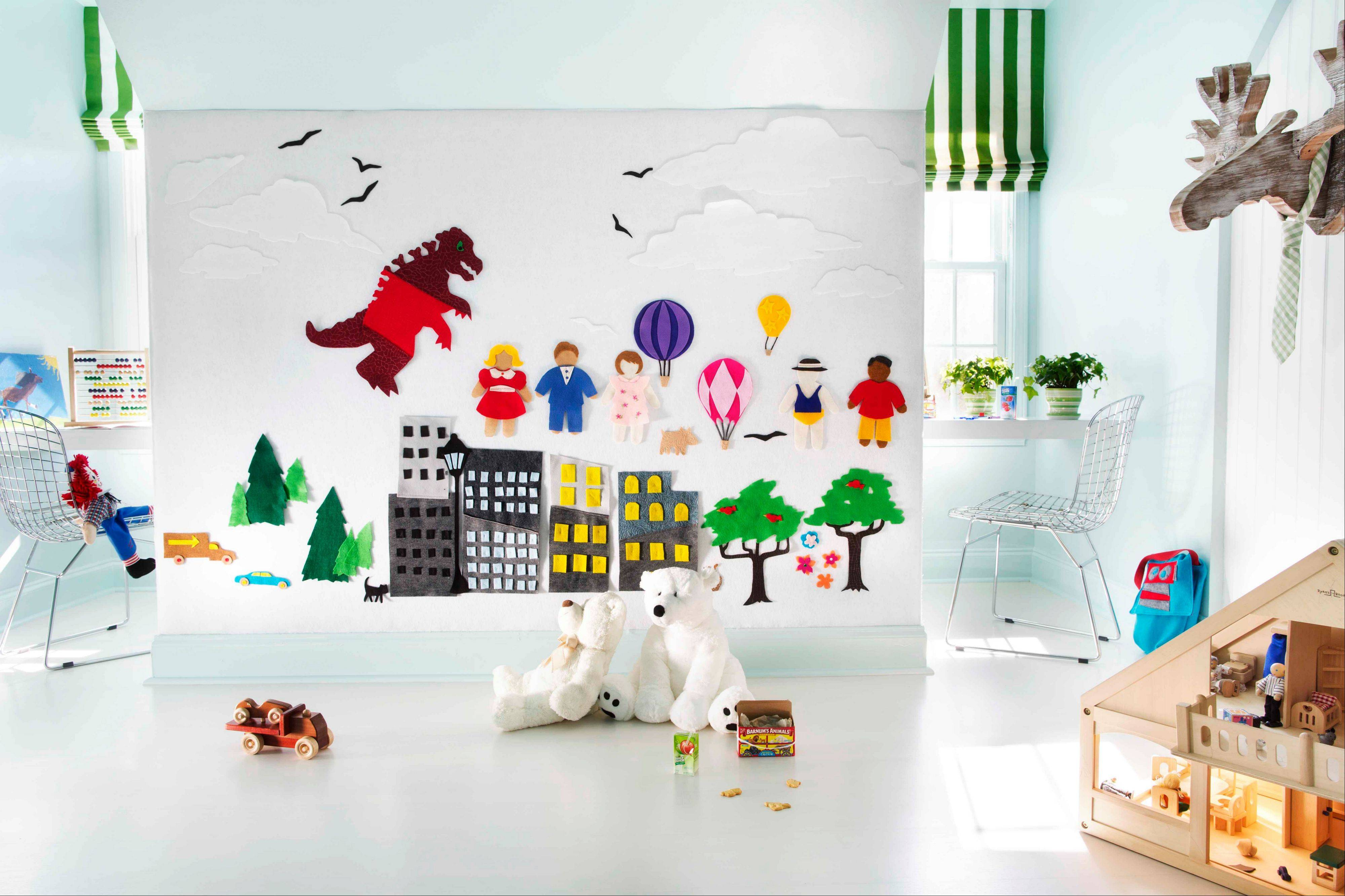 Put a fresh twist on felt by using it to create an interactive wall in a boy's play room. Flynn suggests that felt is becoming increasingly popular for upholstery and crafting and can be used in unexpected ways.