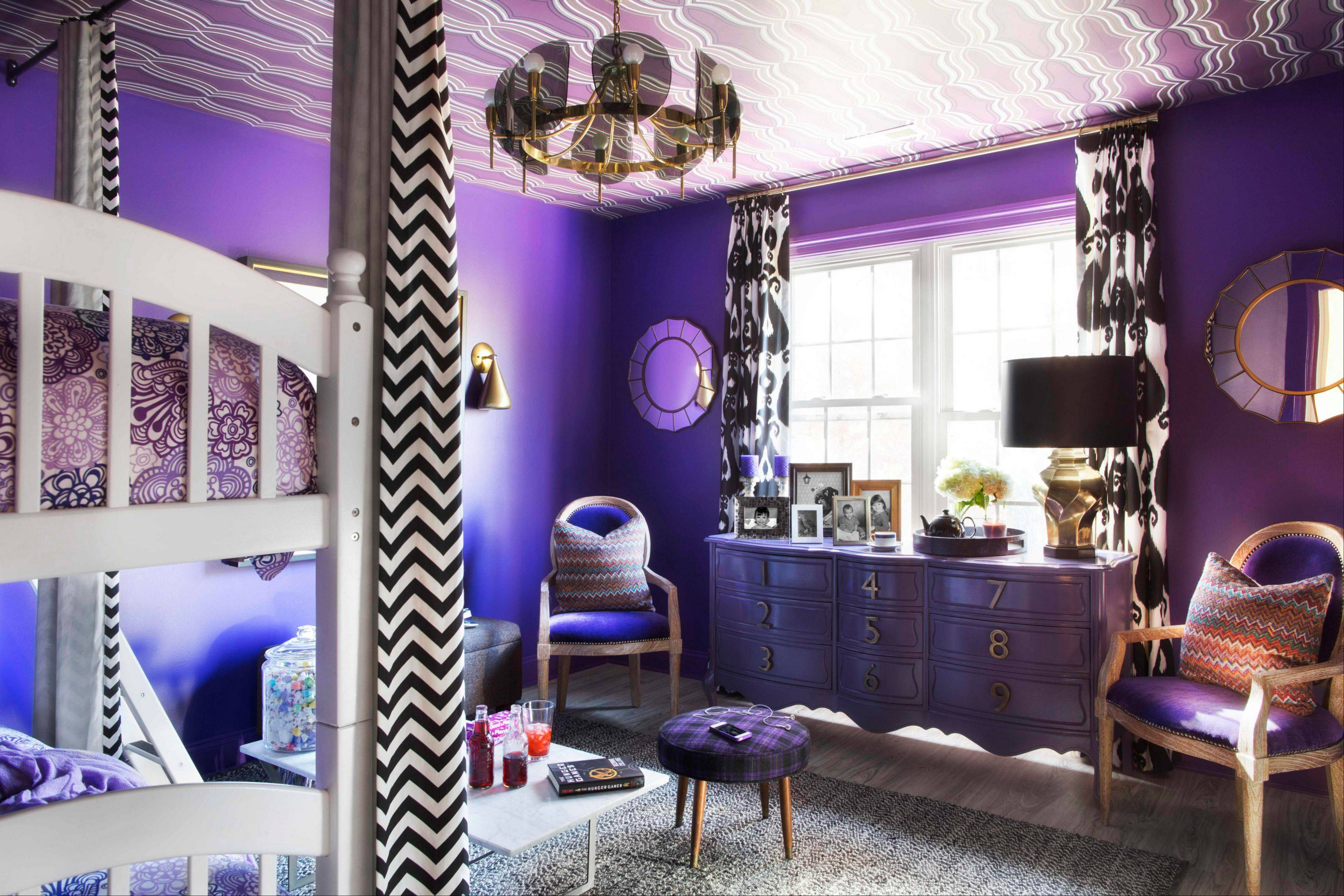 Designer Brian Patrick Flynn created this tween girl's room for HGTV.com. It features the a shade of red-violet similar to the Pantone color of the year for 2014. Flynn suggests pairing the color with neutrals like white and black to make it a bit lighter and more playful.