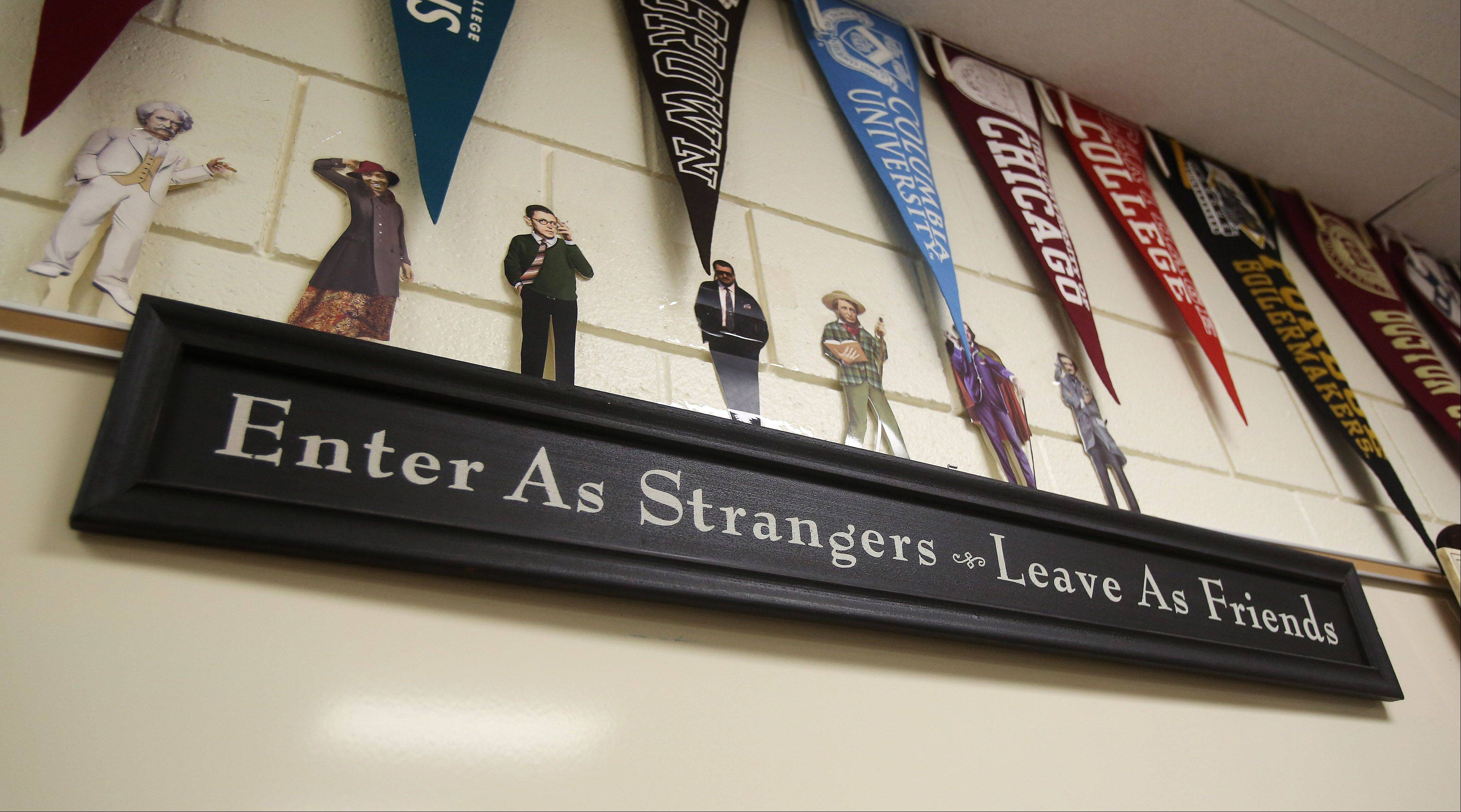 A sign in the classroom of Stevenson High School communications arts teacher Bill Fritz.