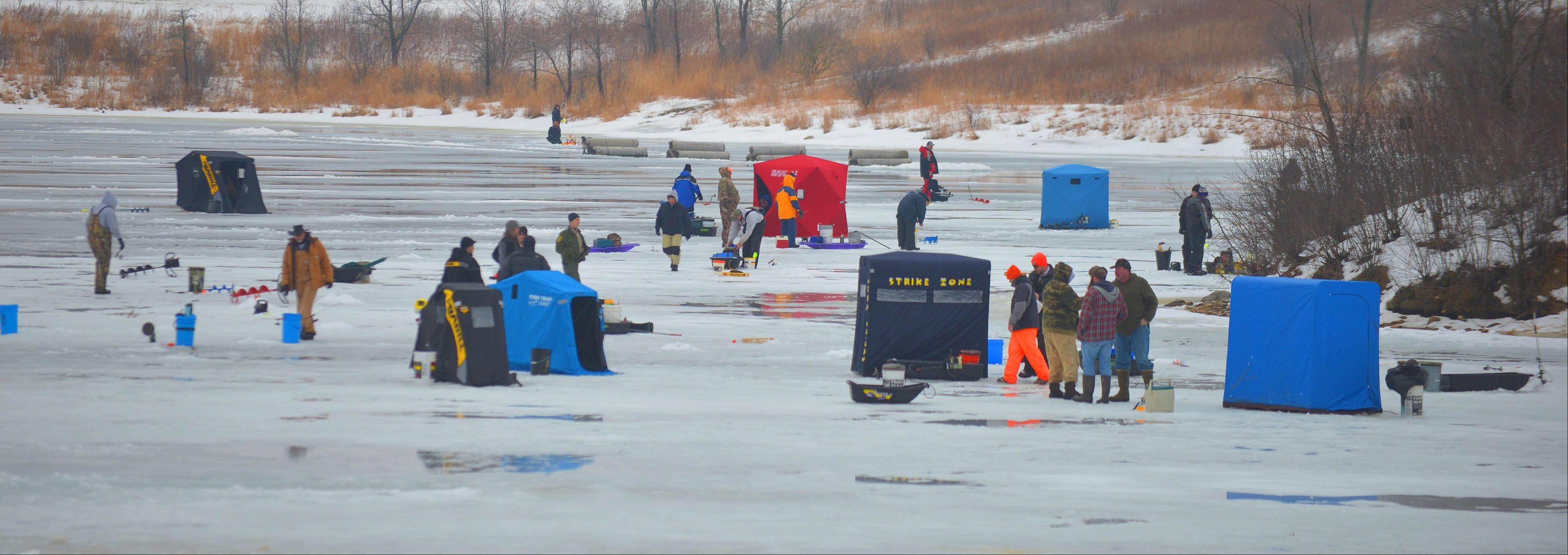 The Hard Water Classic ice-fishing tournament attracted more than 100 fisherman Saturday to the frozen waters of Blackwell Forest Preserve.