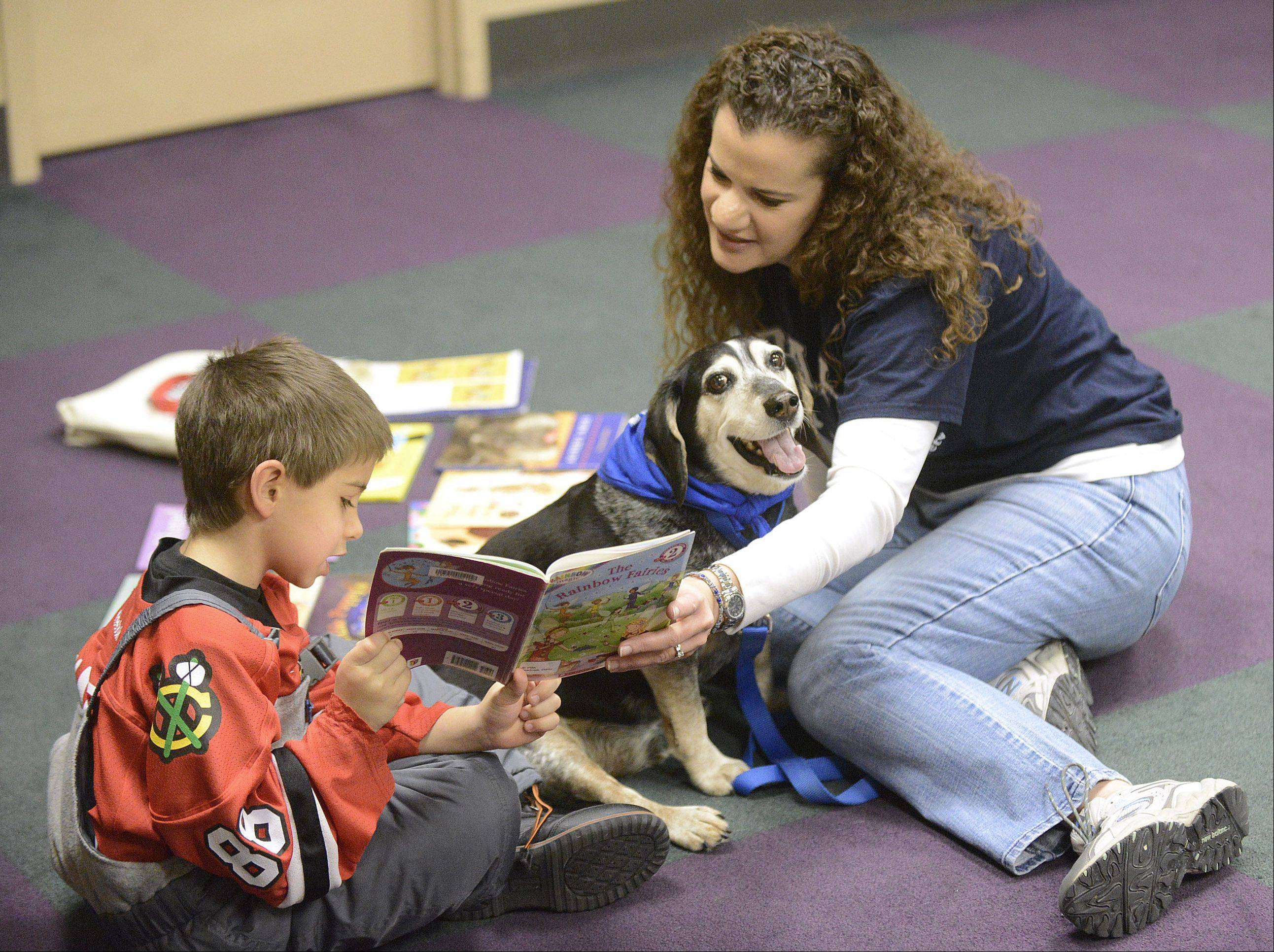 Michael Stark, 6, of Batavia reads to therapy dog, Cisco, 10, with help from Cisco's owner, Terri Hancock, during the Paws for Tales reading program at Batavia Public Library on Saturday. Hancock is the Humane Education Manager for the Naperville Area Humane Society and brings the program to 16 locations in the suburbs.