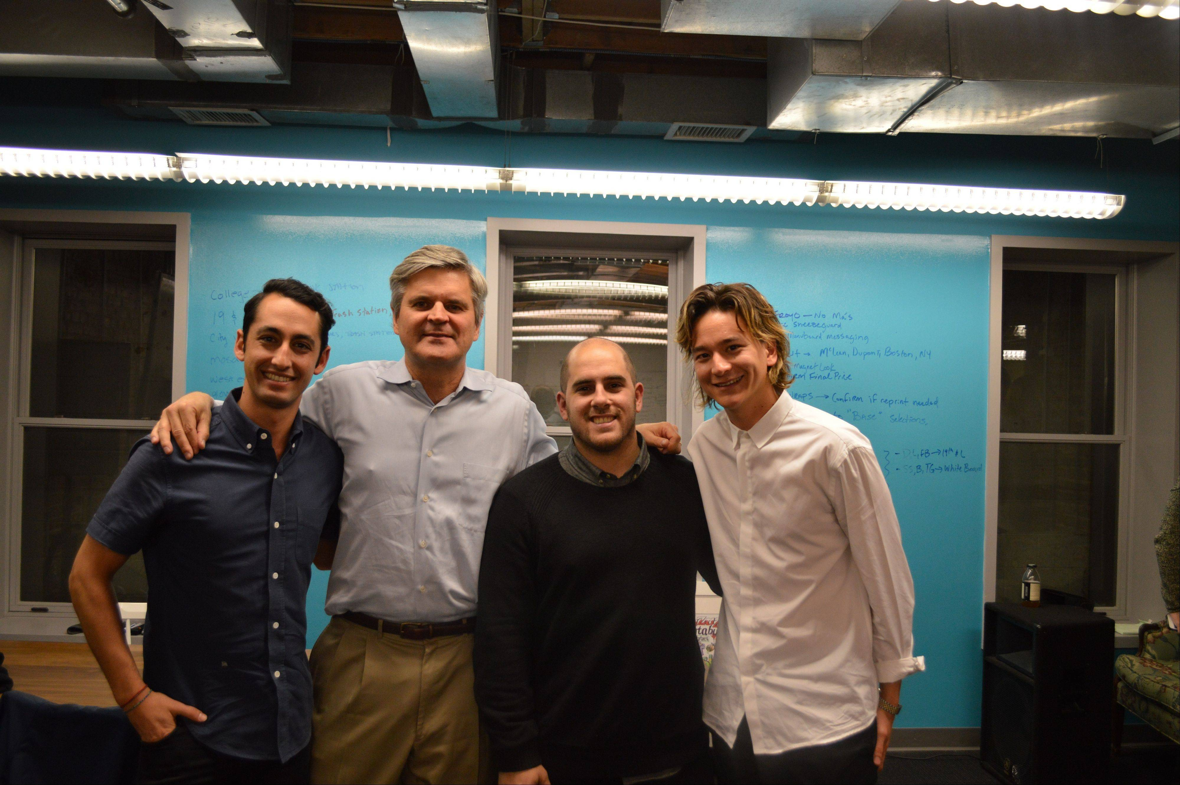 This undated image provided by Sweetgreen shows from left, Sweetgreen co-founder Jonathan Neman with backer Steve Case, co-founder of AOL and the Revolution fund, and his restaurant chain co-founders Nicolas Jammet and Nathaniel Ru. Case initially invested in Sweetgreen about a year ago and in December his Revolution fund invested $22 million.