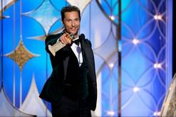"""This image released by NBC shows Matthew McConaughey accepting the award for best actor in a motion picture drama for his role in """"Dallas Buyers Club"""" during the 71st annual Golden Globe Awards at the Beverly Hilton Hotel on Sunday in Beverly Hills, Calif."""