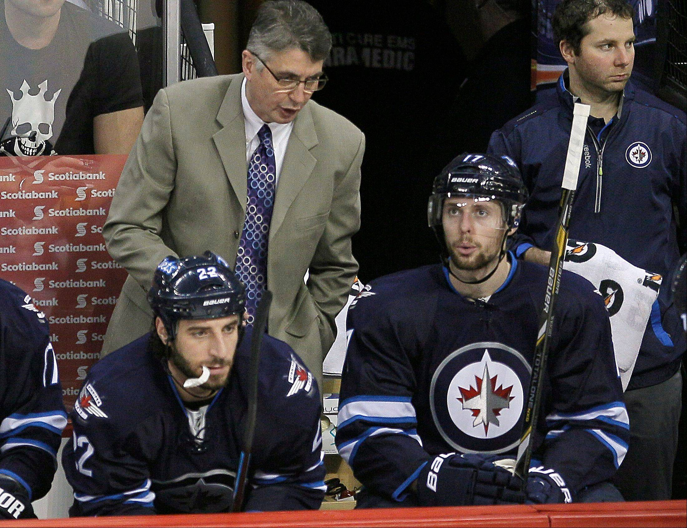 Winnipeg Jets head coach Claude Noel talks to players during Saturday�s home game against the Columbus Blue Jackets. Noel was fired after the loss.