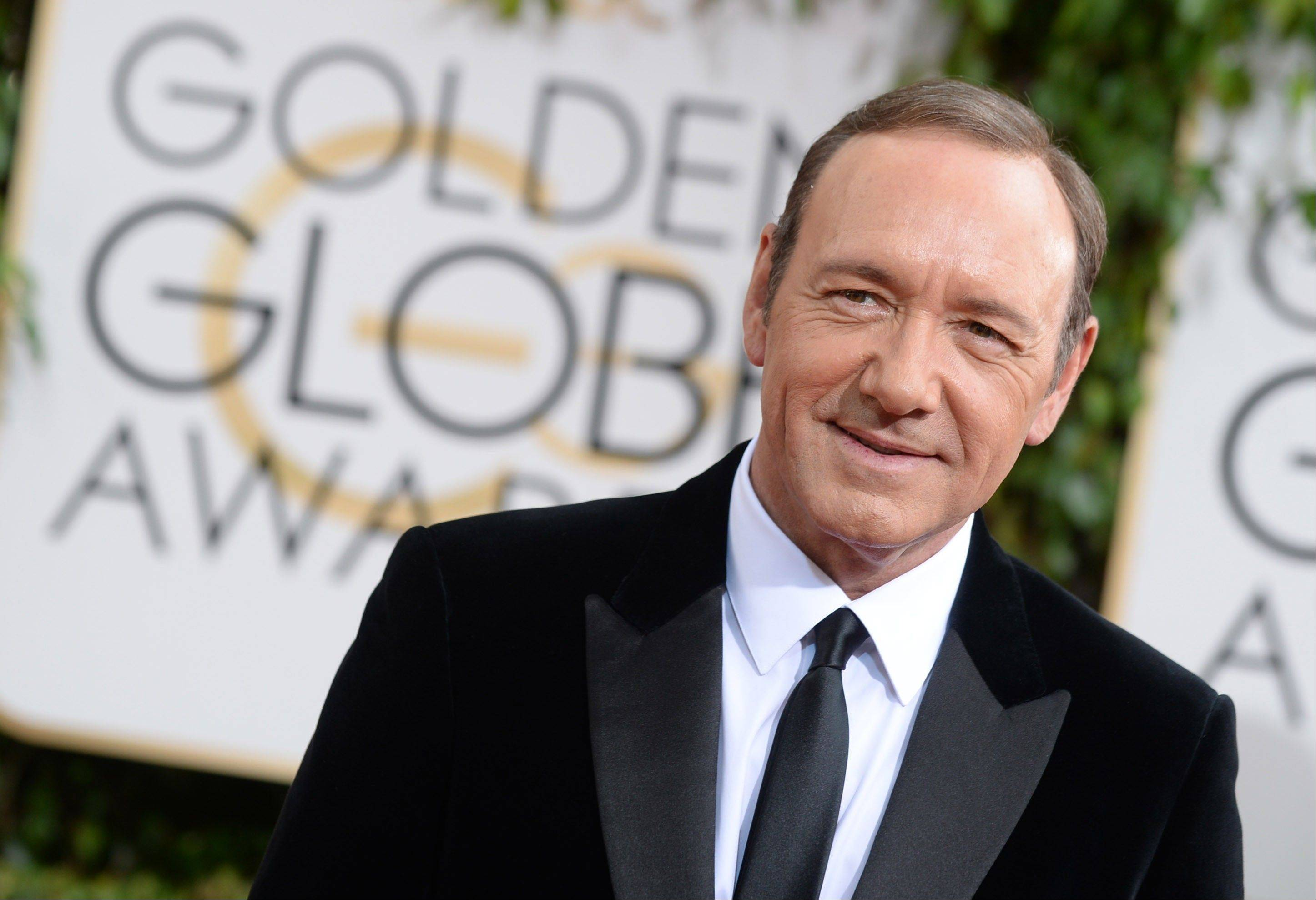 """House of Cards"" star Kevin Spacey arrives at the 71st annual Golden Globe Awards."