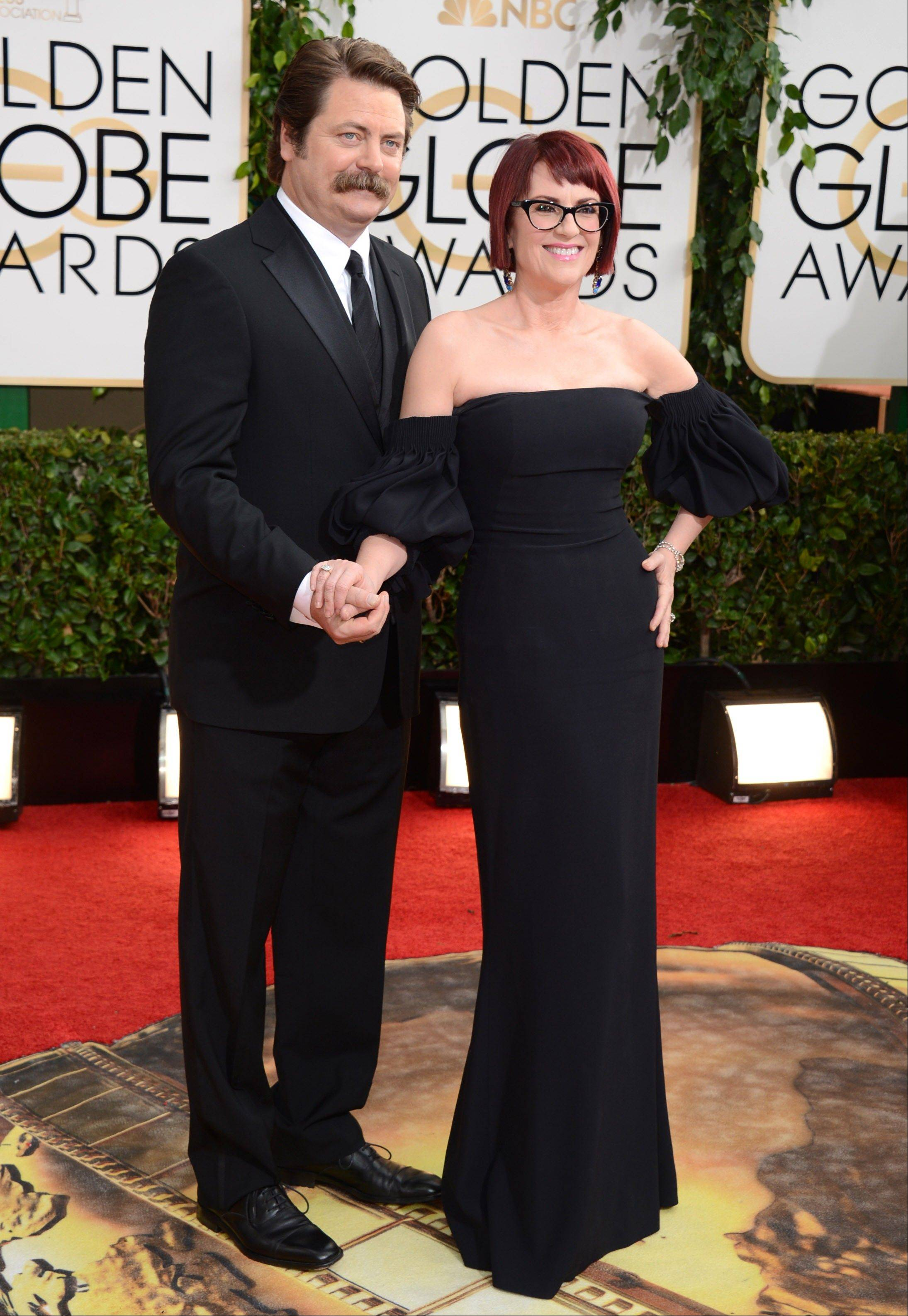 """Parks and Rec"" star Nick Offerman walked the carpet with his wife, actress Megan Mullally."