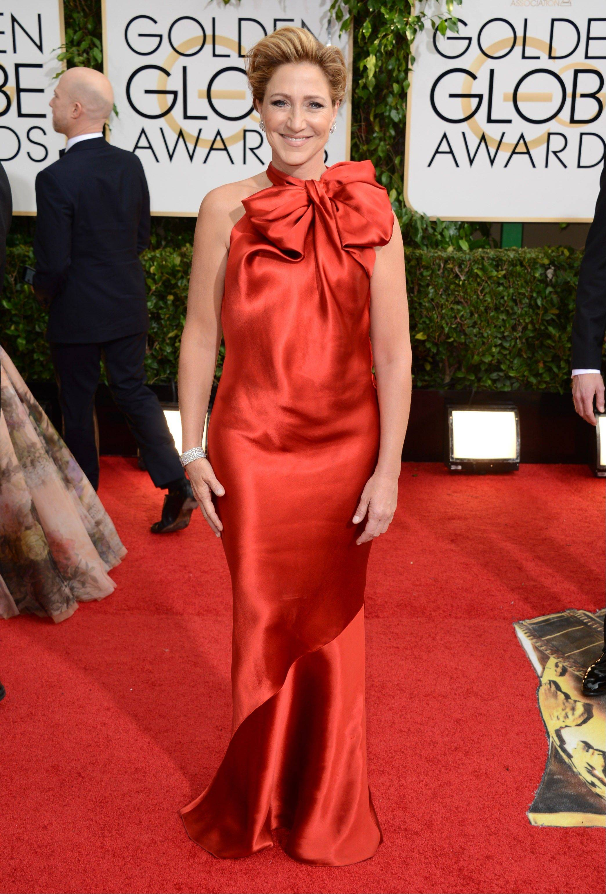 """Nurse Jackie"" star Edie Falco arrives at the 71st annual Golden Globe Awards."