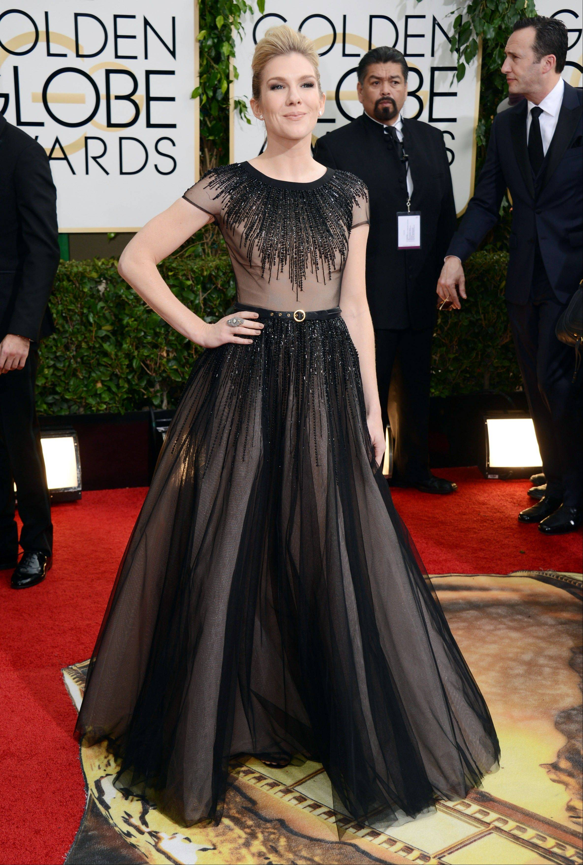 Lily Rabe arrives at the 71st annual Golden Globe Awards.