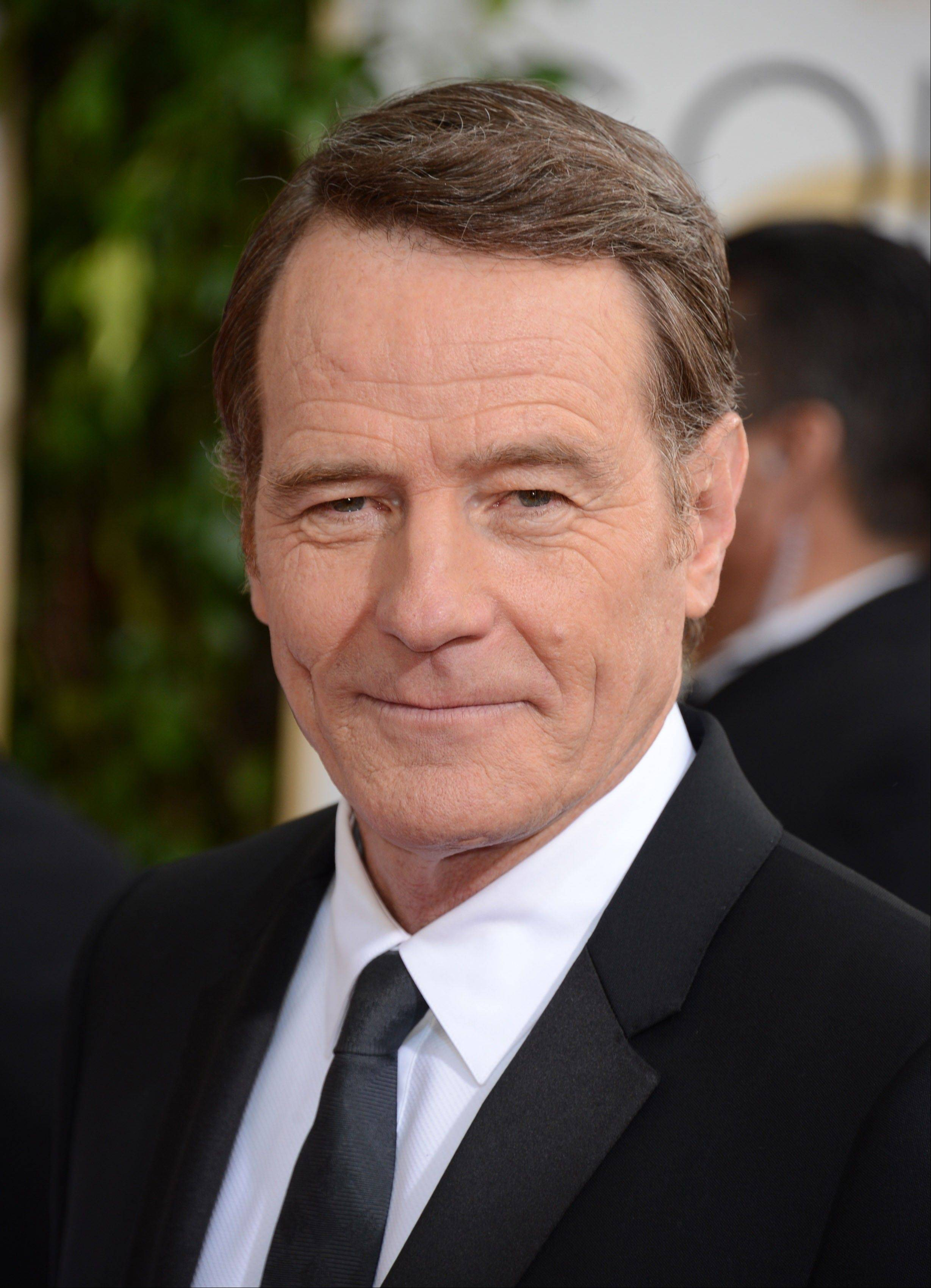 """Breaking Bad"" star Bryan Cranston arrives at the 71st annual Golden Globe Awards."