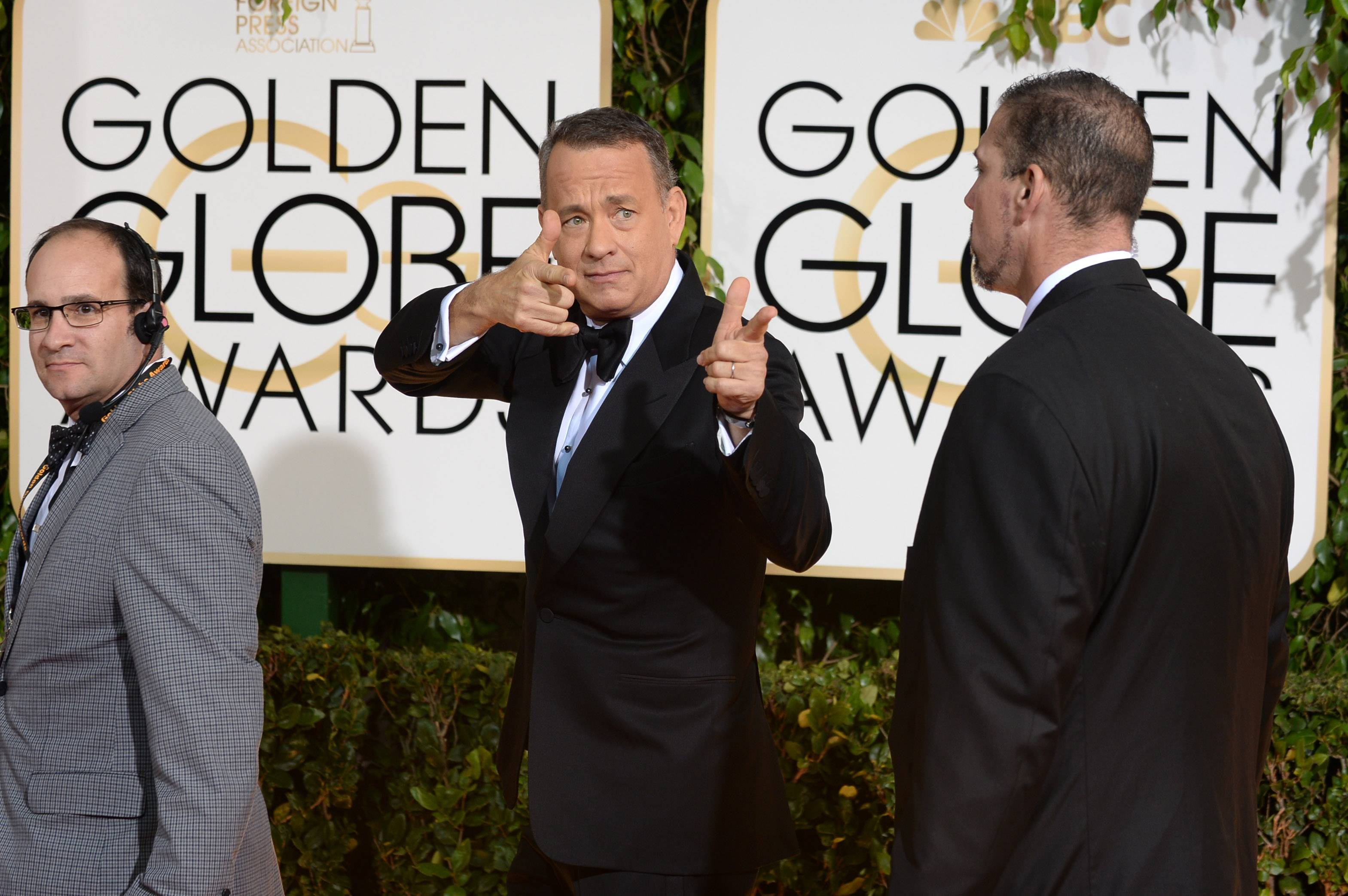 Actor Tom Hanks has a little fun before heading into the Golden Globes.
