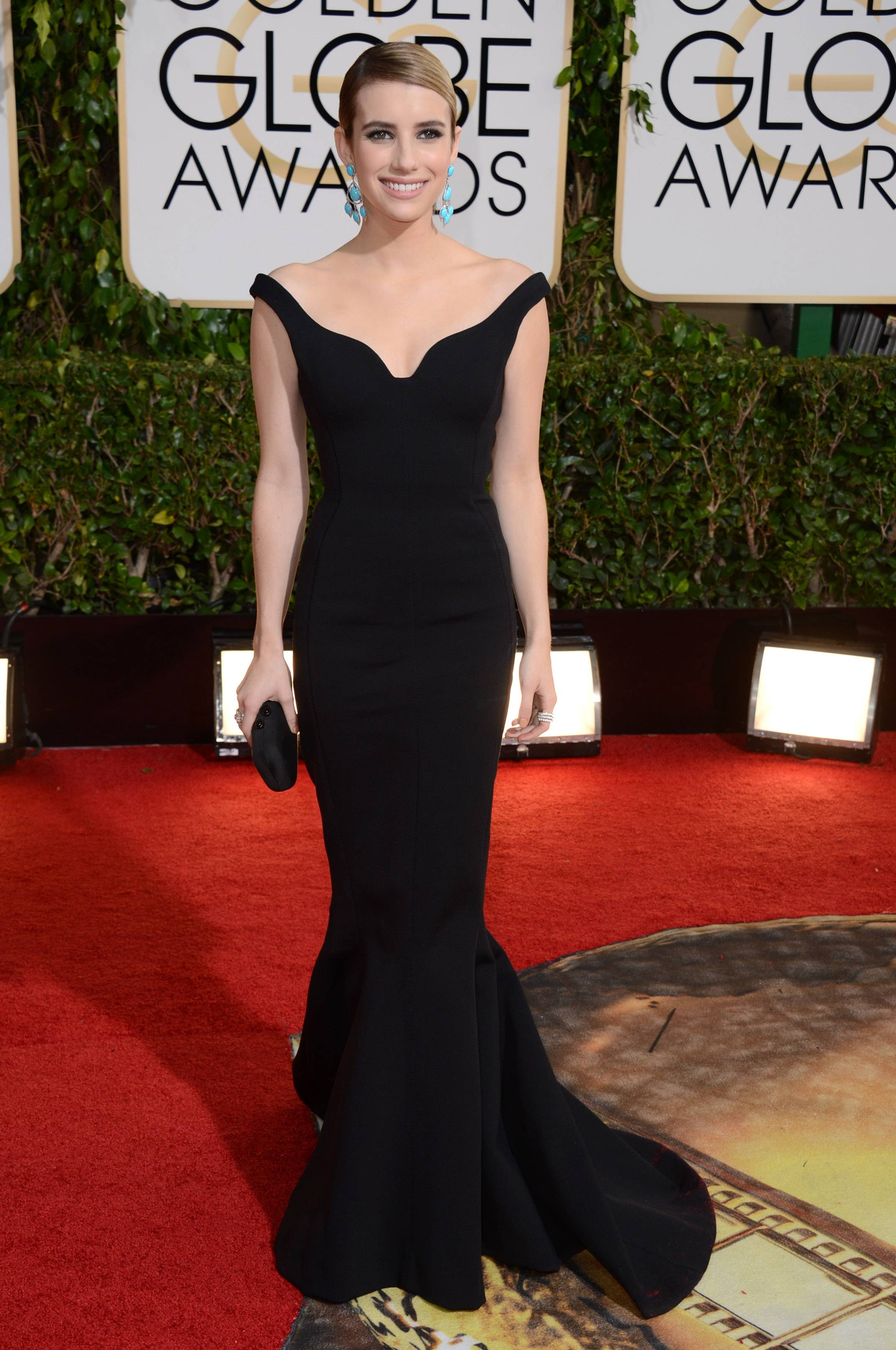 """American Horror Story"" actress Emma Roberts glams it up for Golden Globes night."
