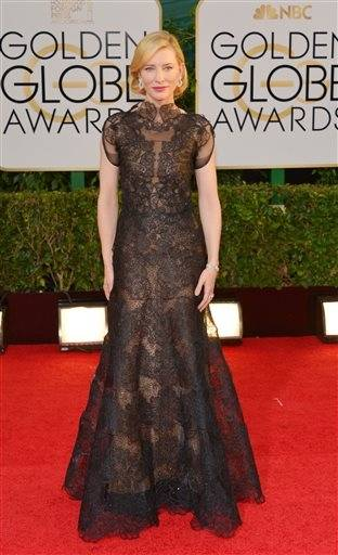 """Blue Jasmine"" star and Golden Globe nominee Cate Blanchett went for stately black lace."
