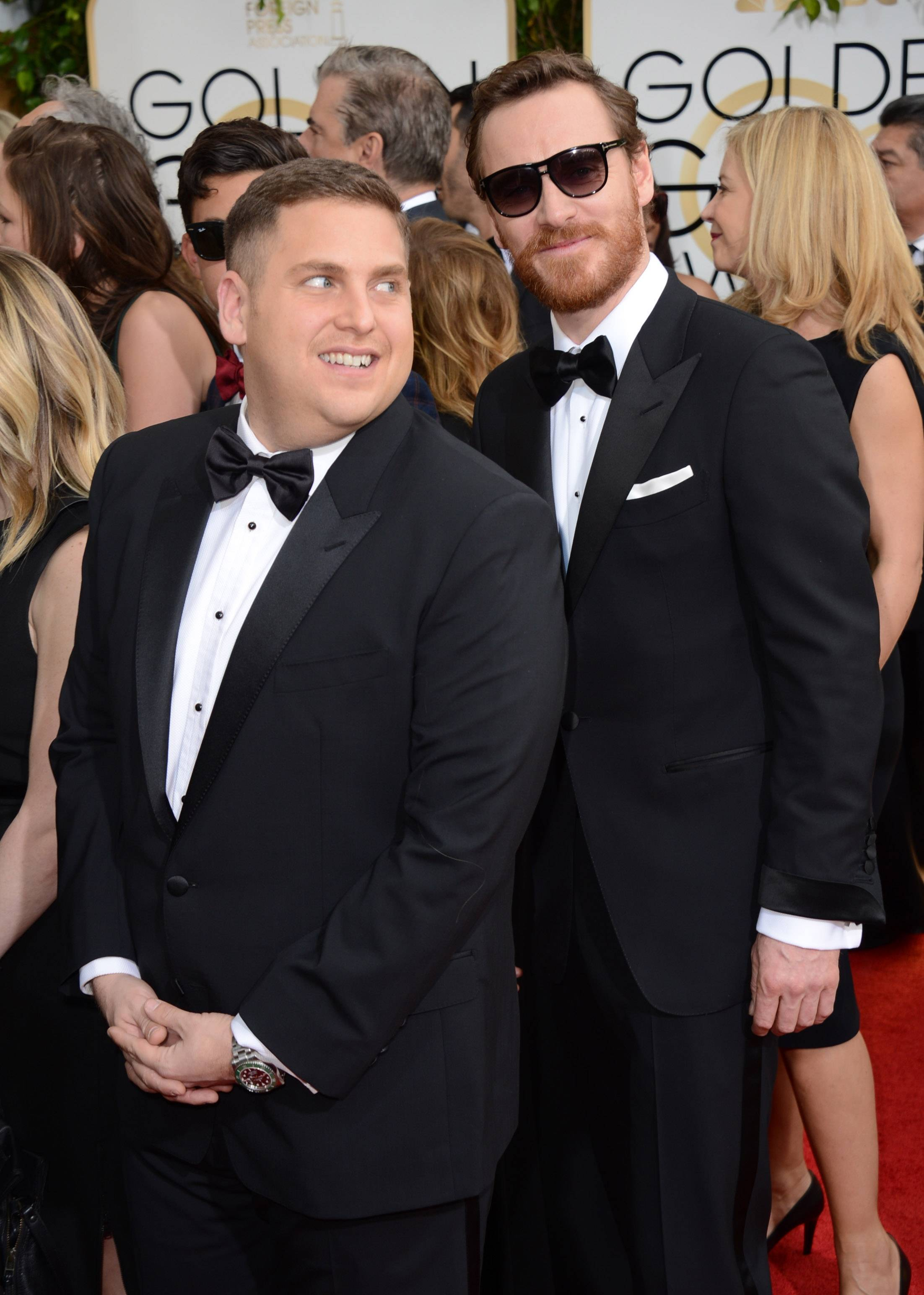 """The Wolfe of Wall Street"" actor Jonah Hill gets photobombed by ""12 Years a Slave"" star Michael Fassbender"