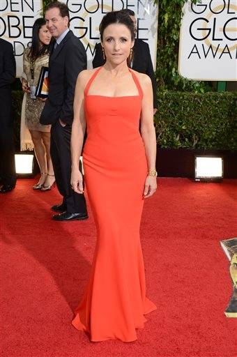 """Veep"" star Julia Louis Dreyfuss goes for the va-va-va-voom factor on the red carpet."