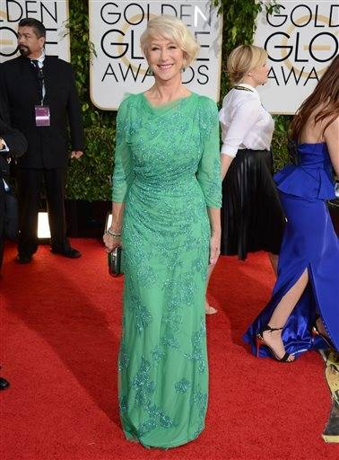 Helen Mirren goes a little more subdued for this year's Golden Globes.