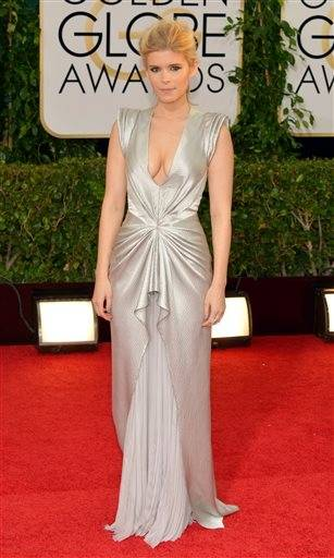 Actress Kate Mara goes for an update of Hollywood glam in this stunning silvery gown.