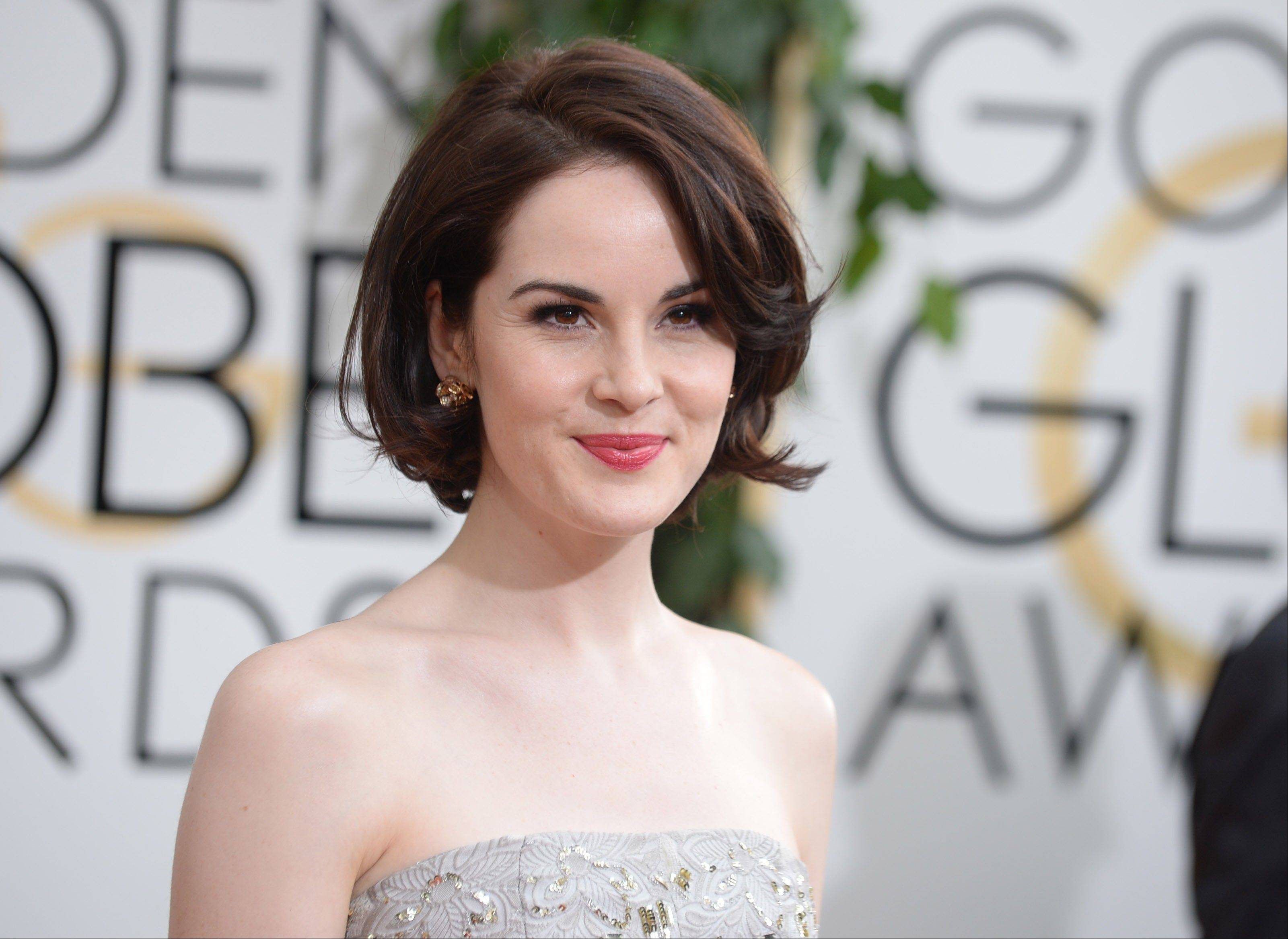 """Downton Abbey"" star Michelle Dockery arrives looking a little more glam and modern than viewers are used to seeing her."