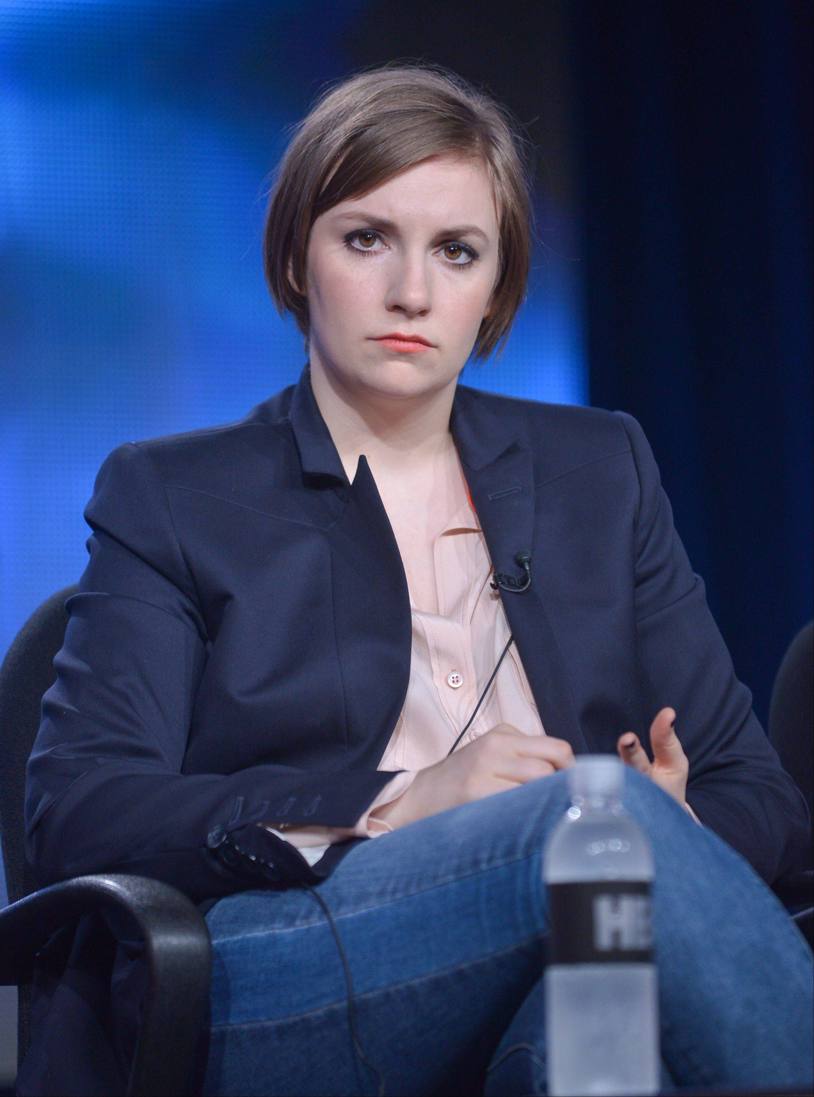 "Lena Dunham on stage during the ""Girls"" panel discussion at the HBO portion of the 2014 Winter Television Critics Association tour at the Langham Hotel on Thursday."