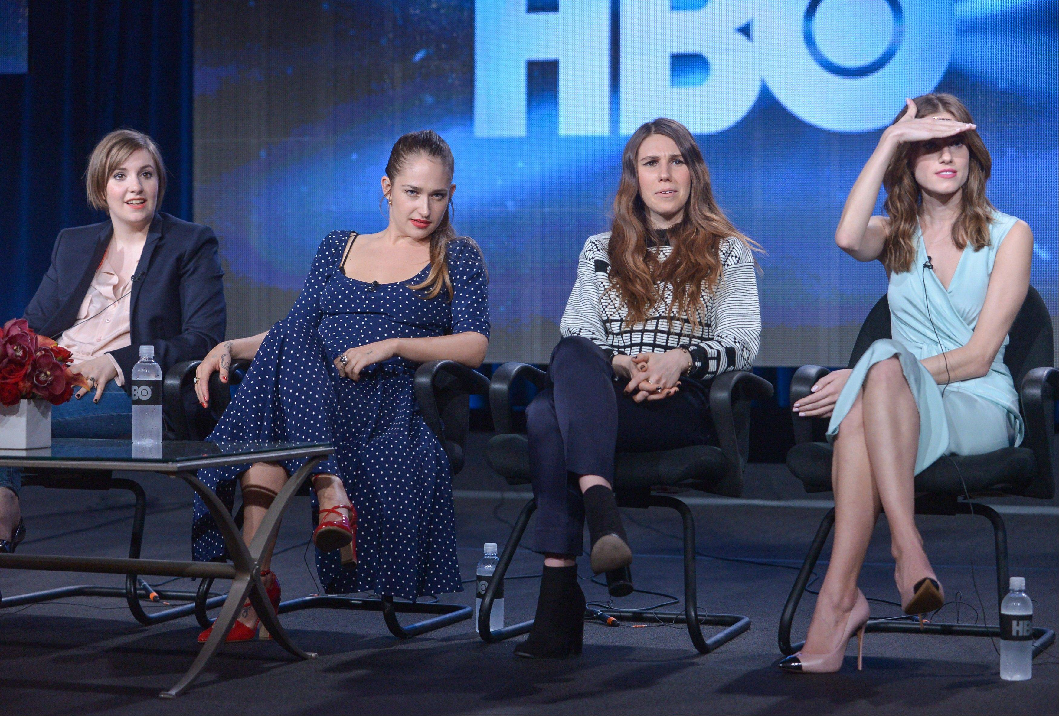 "Lena Dunham, left, Jemima Kirke, Zosia Mamet and Allison Williams on stage during the ""Girls"" panel discussion at the HBO portion of the 2014 Winter Television Critics Association tour at the Langham Hotel on Thursday."