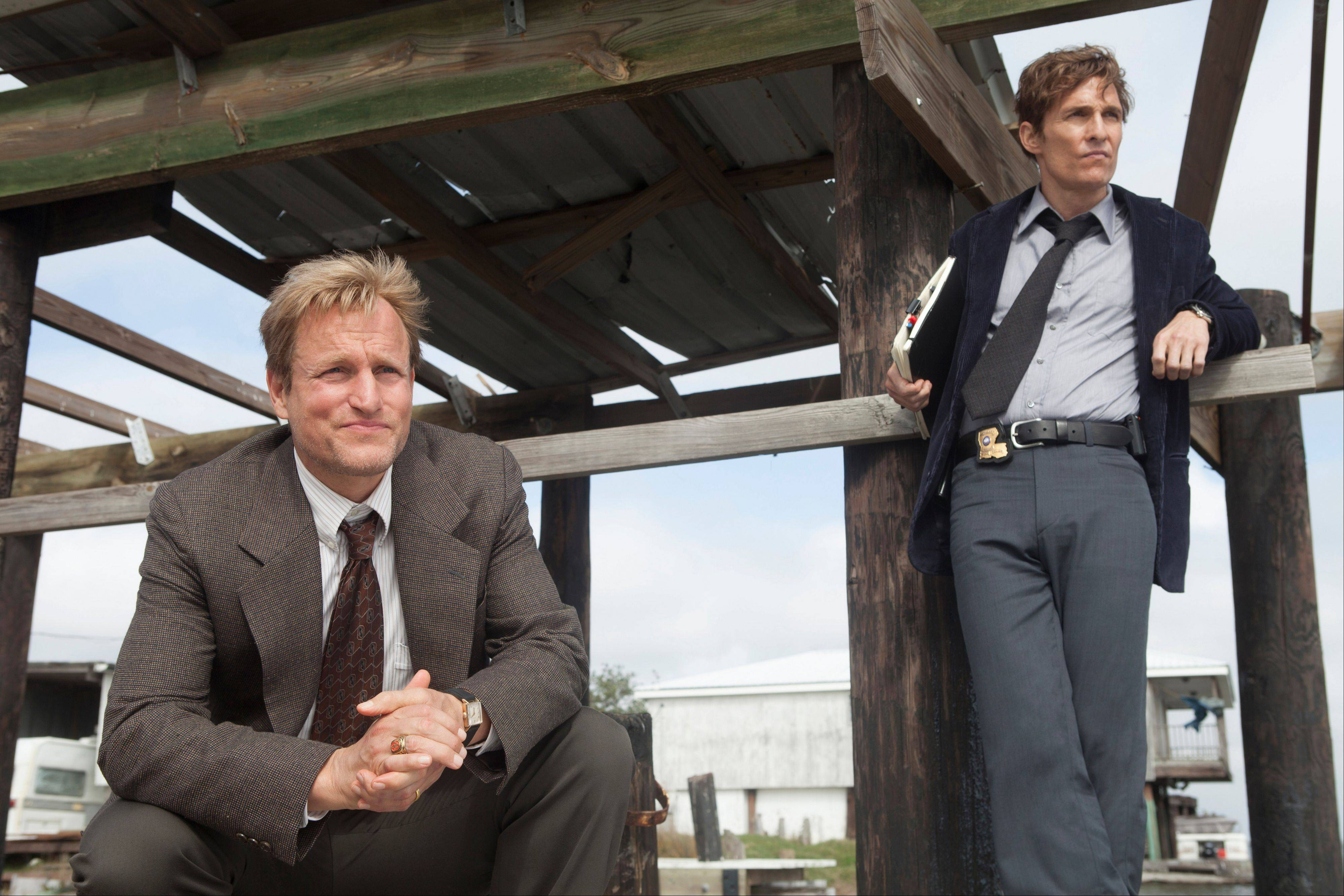 "Woody Harrelson, left, and Matthew McConaughey star in the new HBO series ""True Detective,"" premiering Sunday."