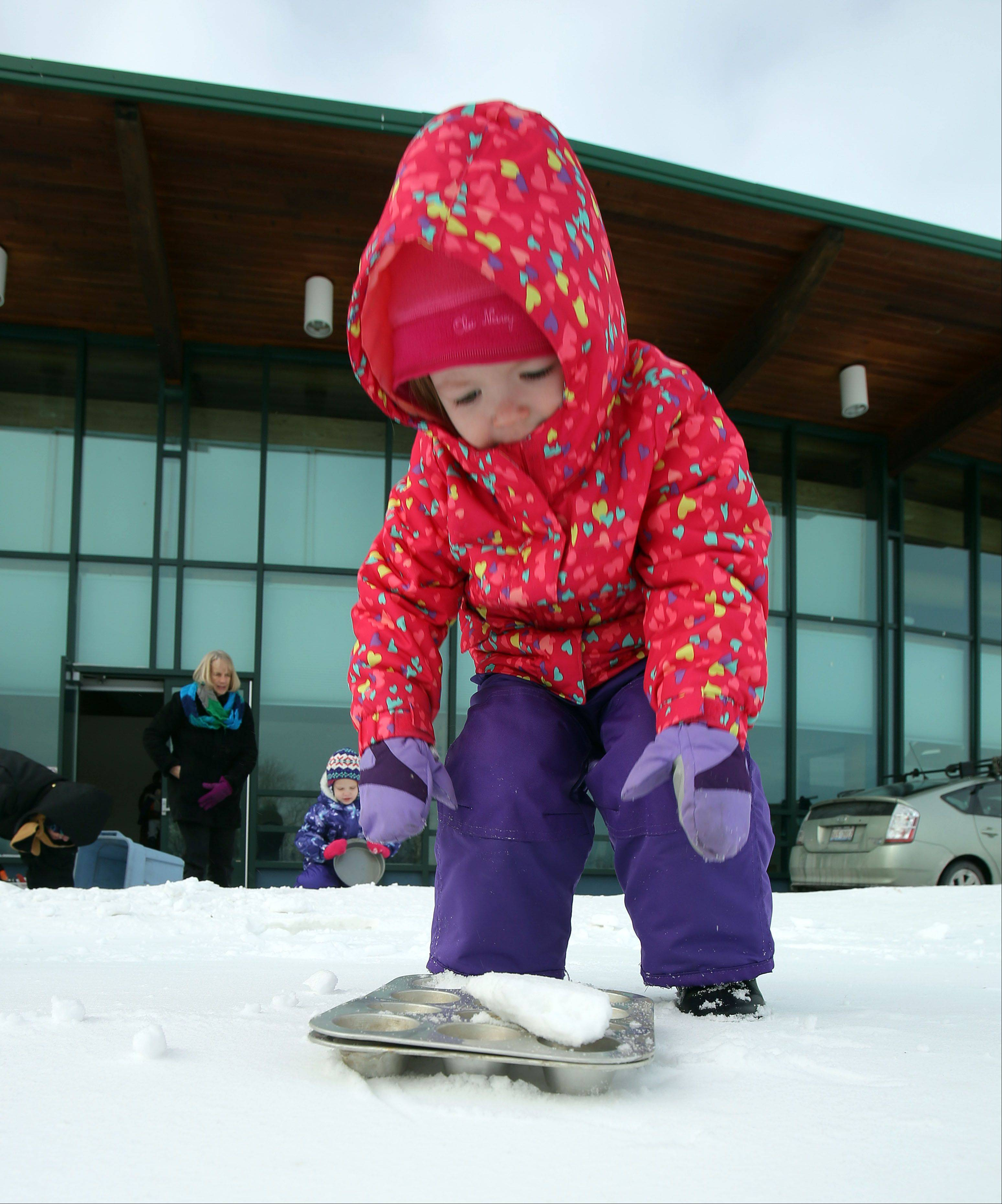 Steve Lundy/slundy@dailyherald.com2-year-old Autumn Noll, of Libertyville, uses a cupcake tin to make snow sculptures during a program called Heathly-Happy Kids in Nature at Greenbelt Forest Preserve in North Chicago Thursday.