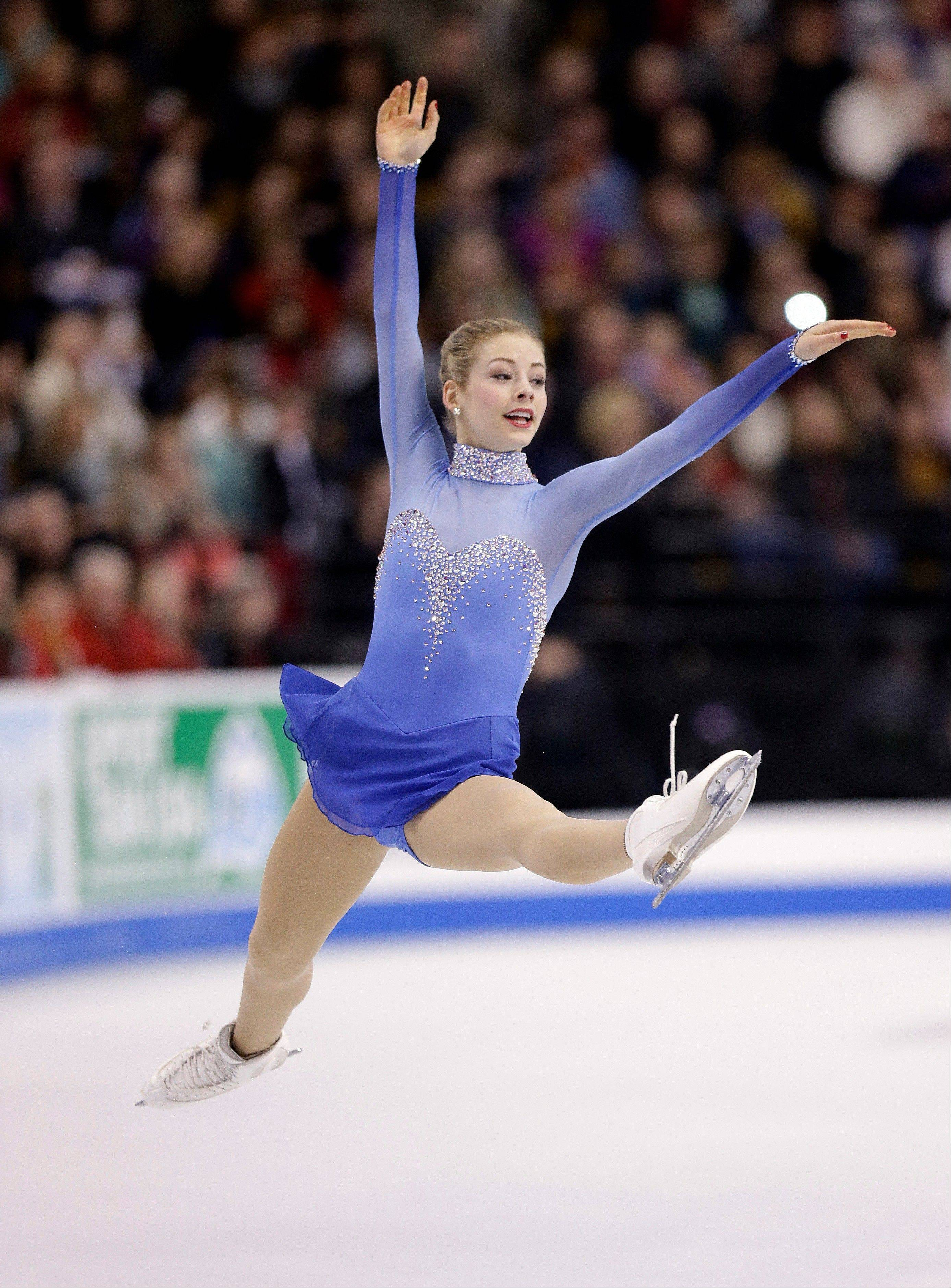 Gracie Gold showcases her leaping abilty in the women's free skate at the U.S. Figure Skating Championships Saturday in Boston. The 18-year-old from Springfield finished first overall.