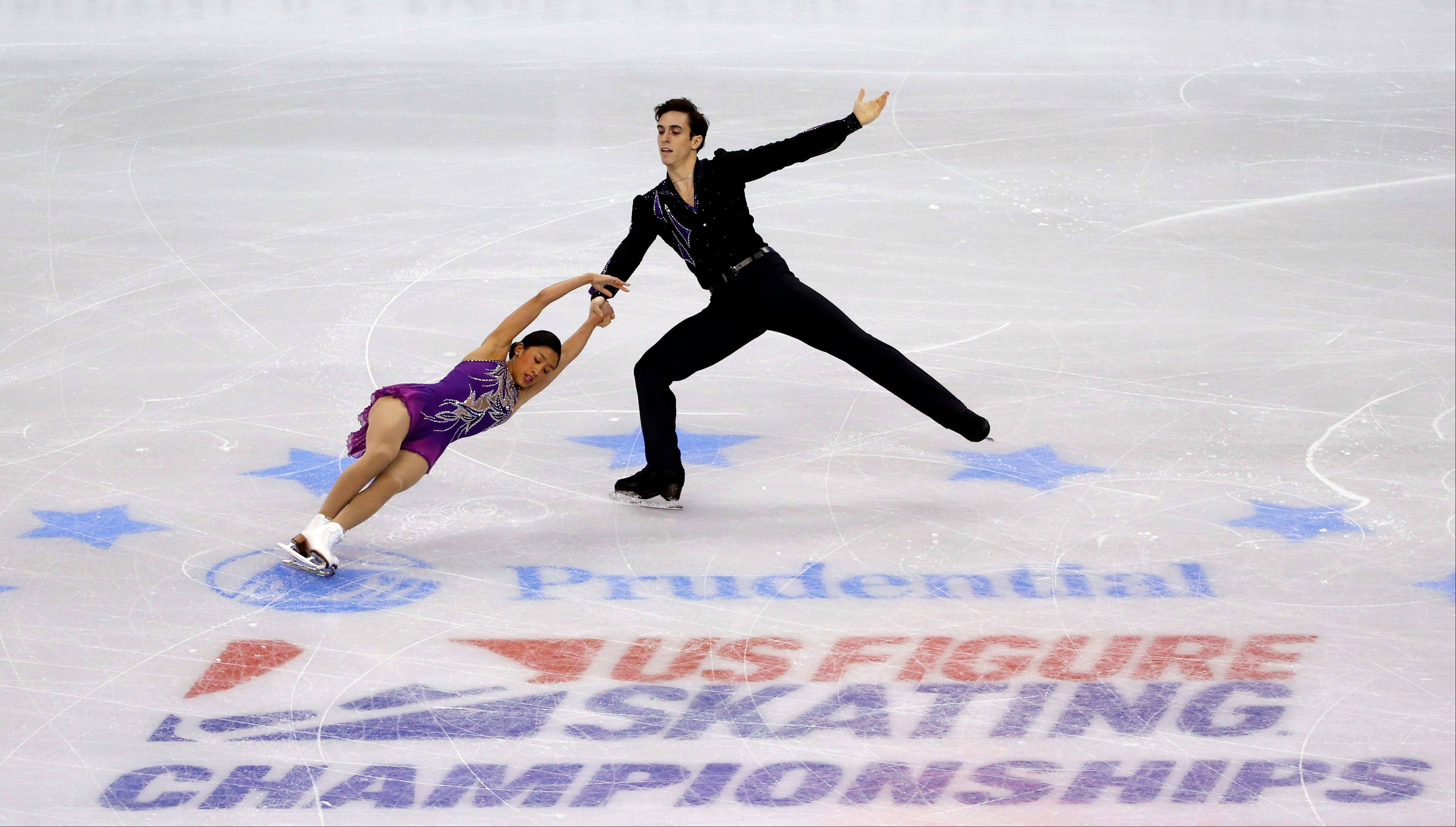 Jessica Noelle Calalang of Glenview and Zack Sidhu skate during the pairs free skate at the U.S. Figure Skating Championships in Boston.