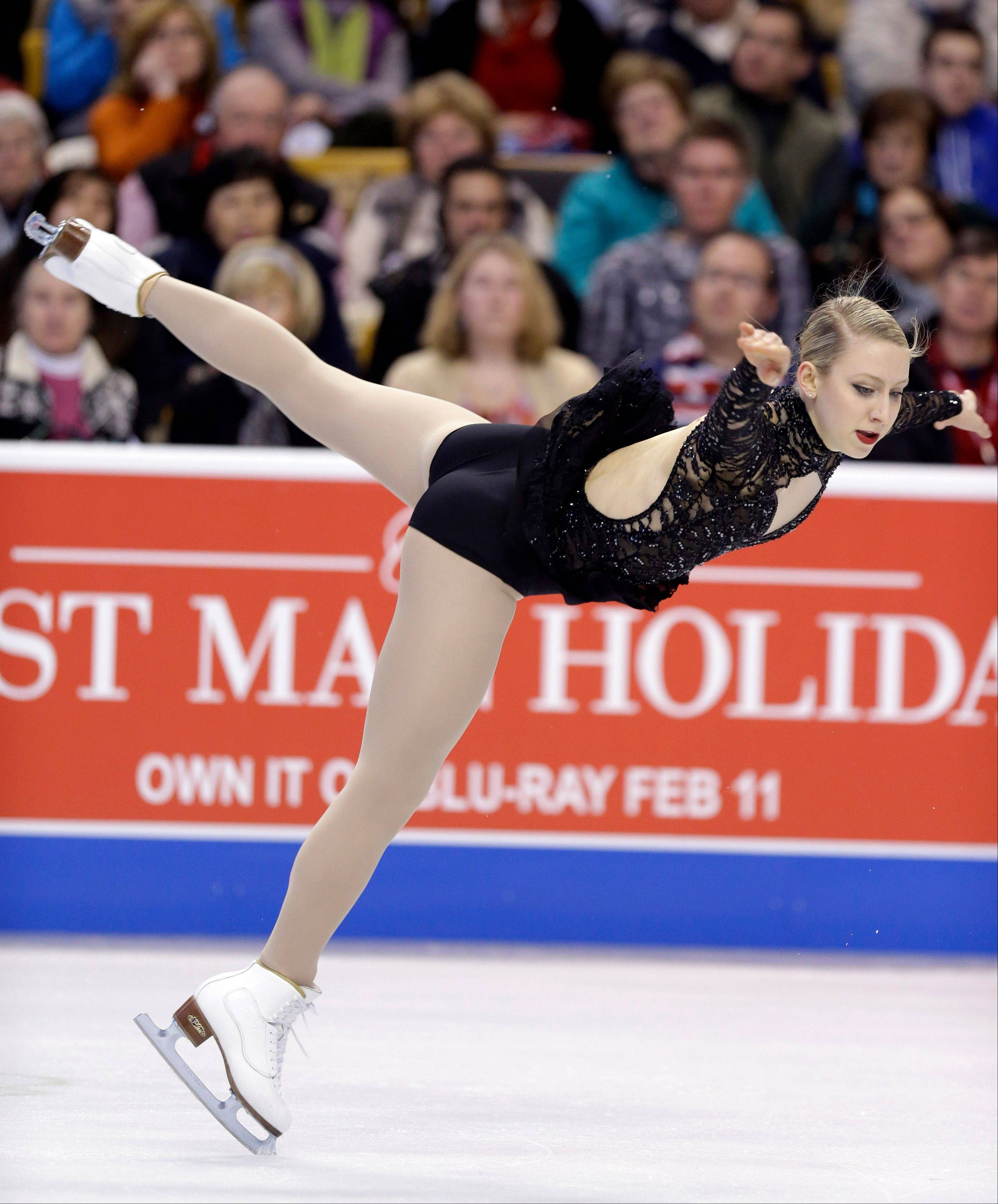 Agnes Zawadzki of Des Plaines competes during the women's free skate at the U.S. Figure Skating Championships Saturday in Boston.
