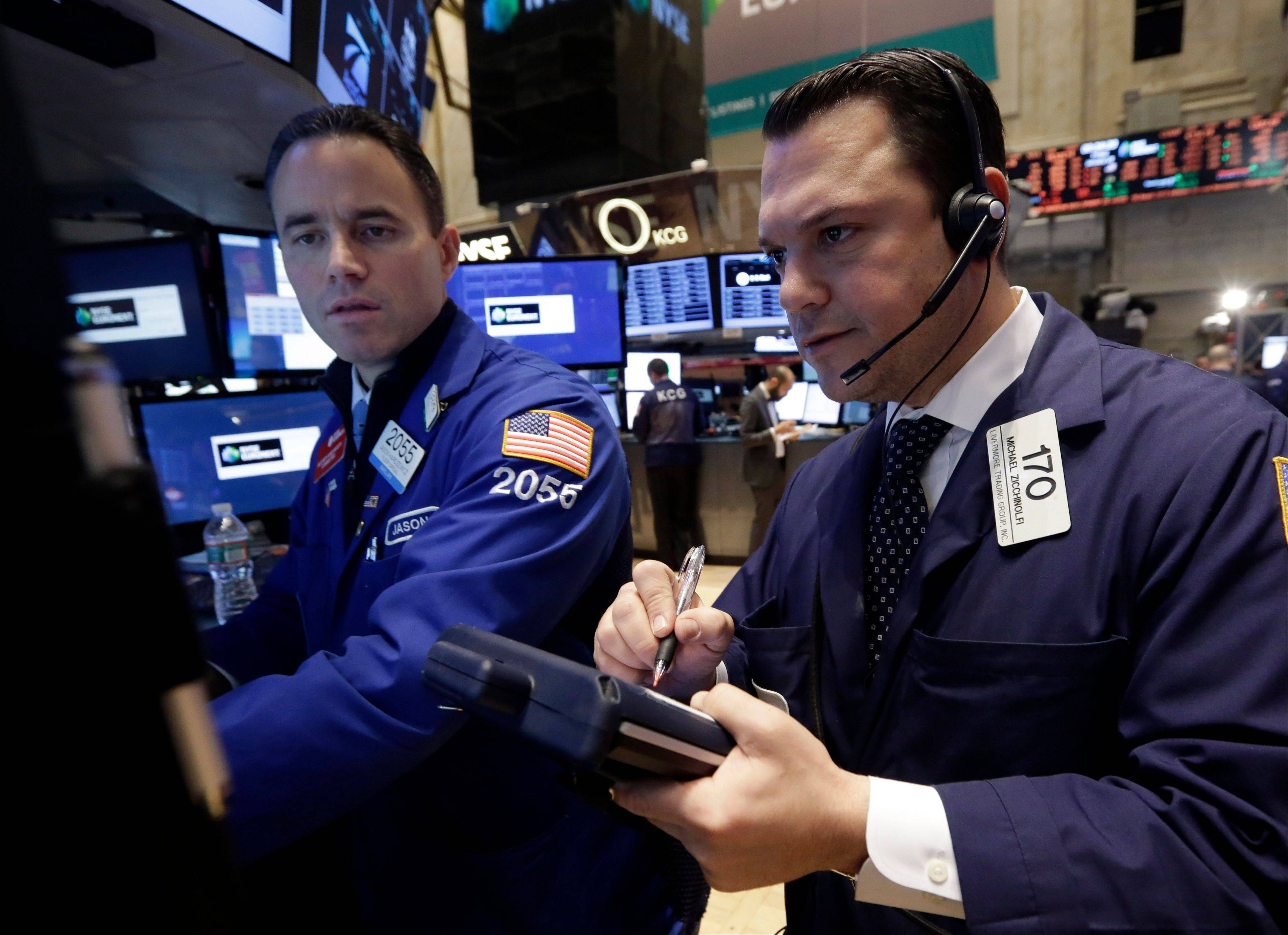 U.S. stocks fell Monday, sending the Standard & Poor�s 500 Index toward its biggest loss in two months, amid concern over valuations after benchmark indexes rallied to all-time highs in 2013.