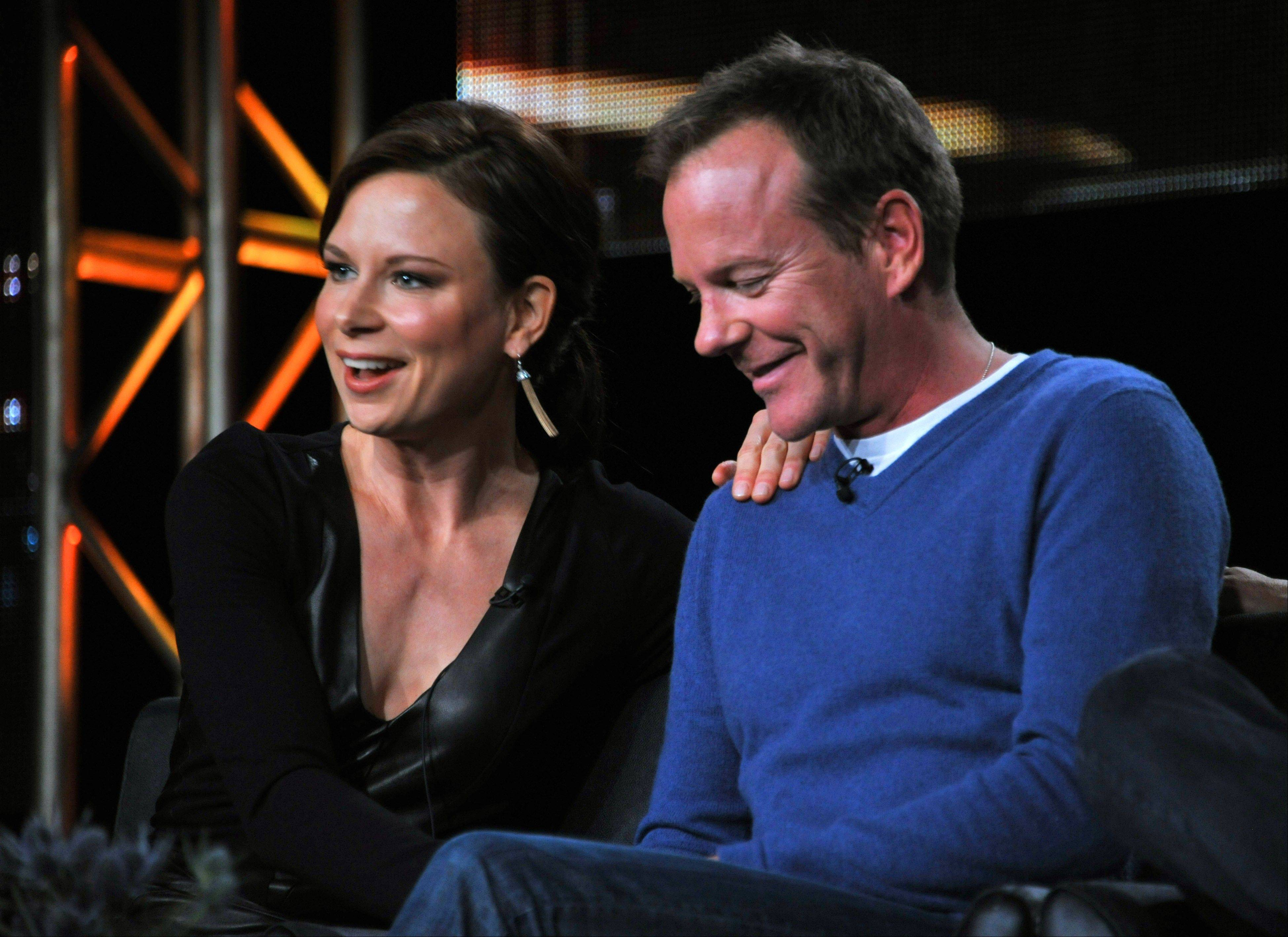 "Mary Lynn Rajskub, left, and Kiefer Sutherland take part on the panel for ""24: Live Another Day"" at the FOX Winter 2014 TCA, on Monday at the Langham Hotel in Pasadena, Calif."